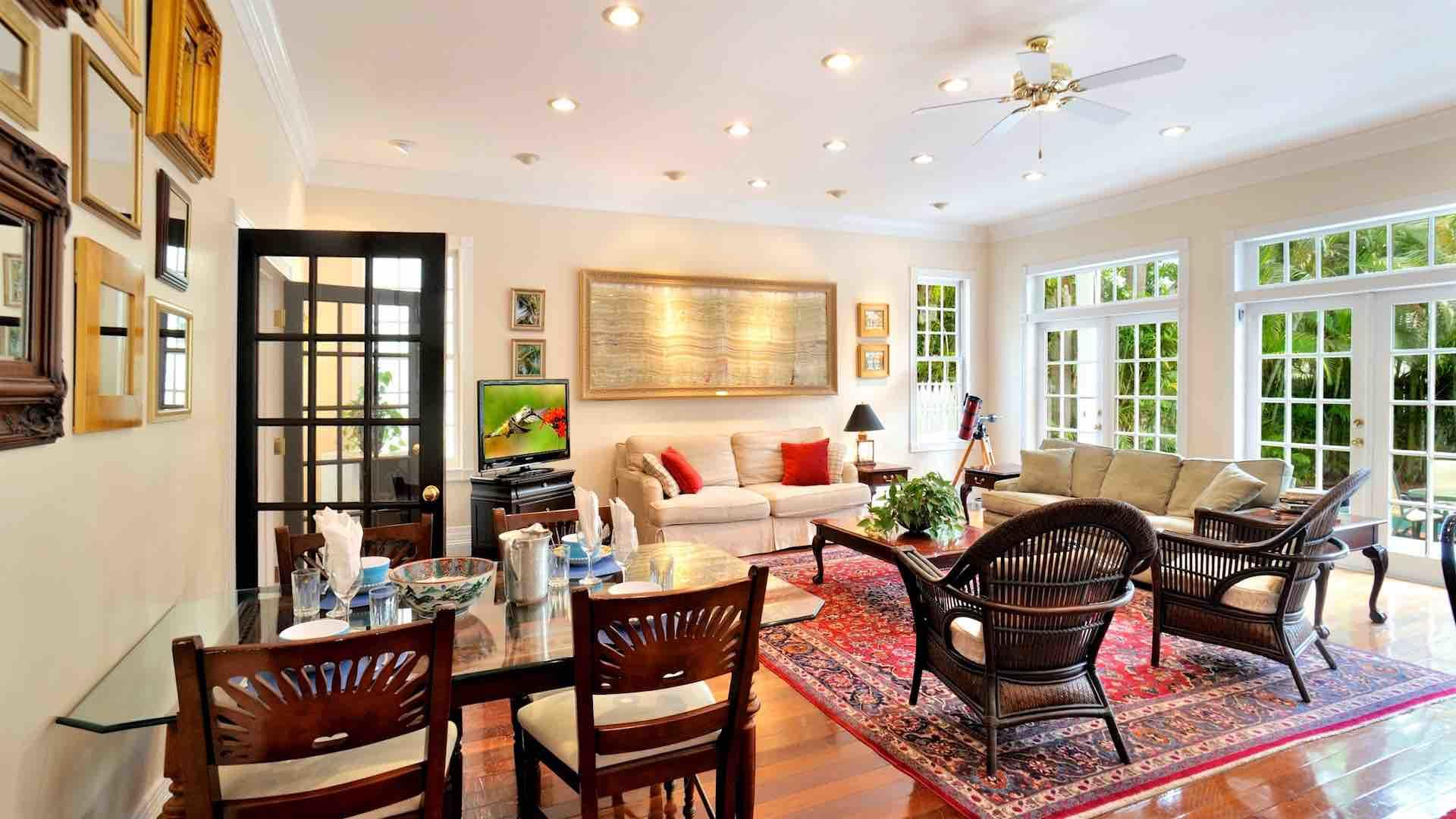 The spacious living area features two oversized couches...