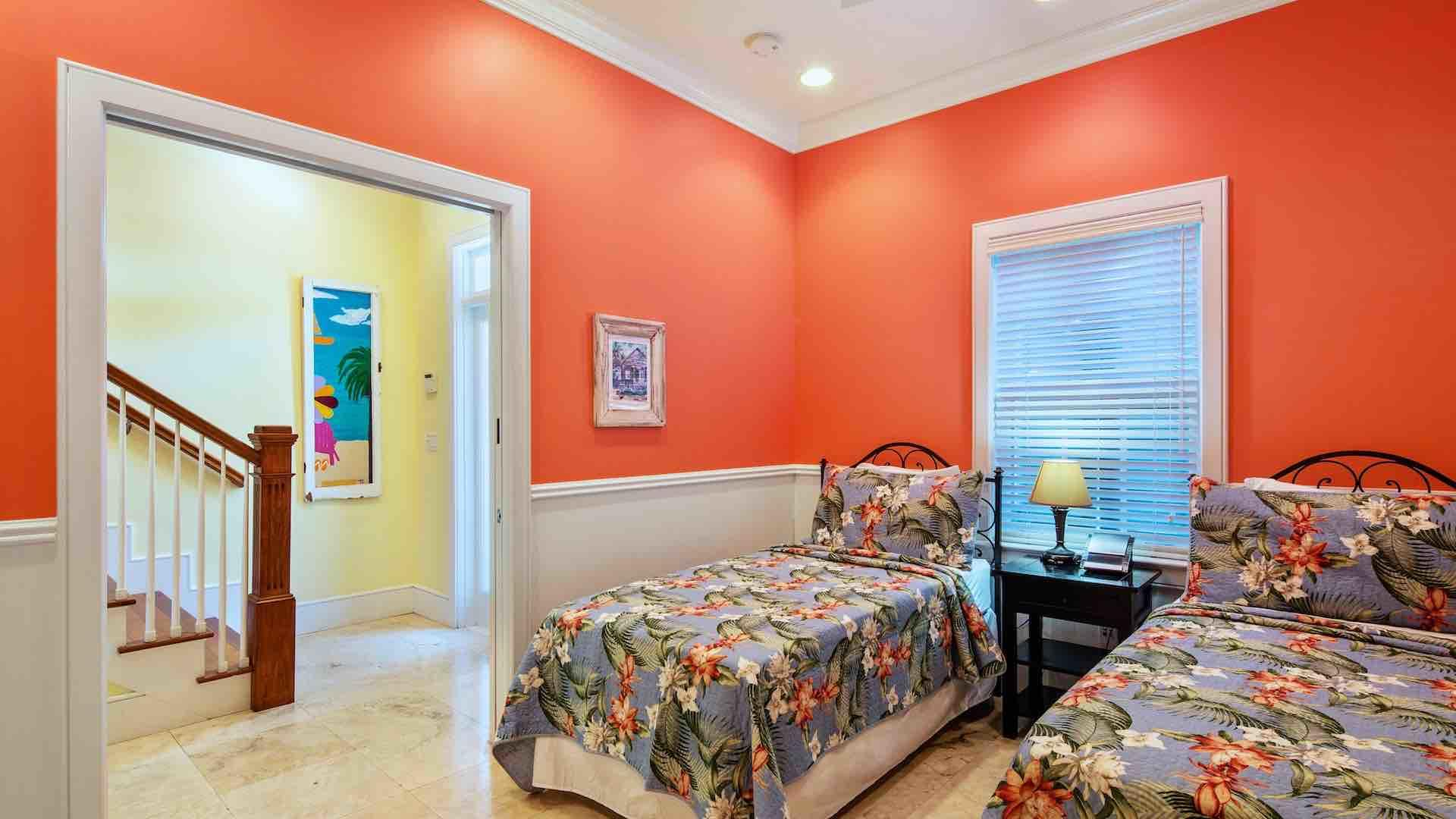 The first bedroom has two twin beds that can convert to a King bed upon request...