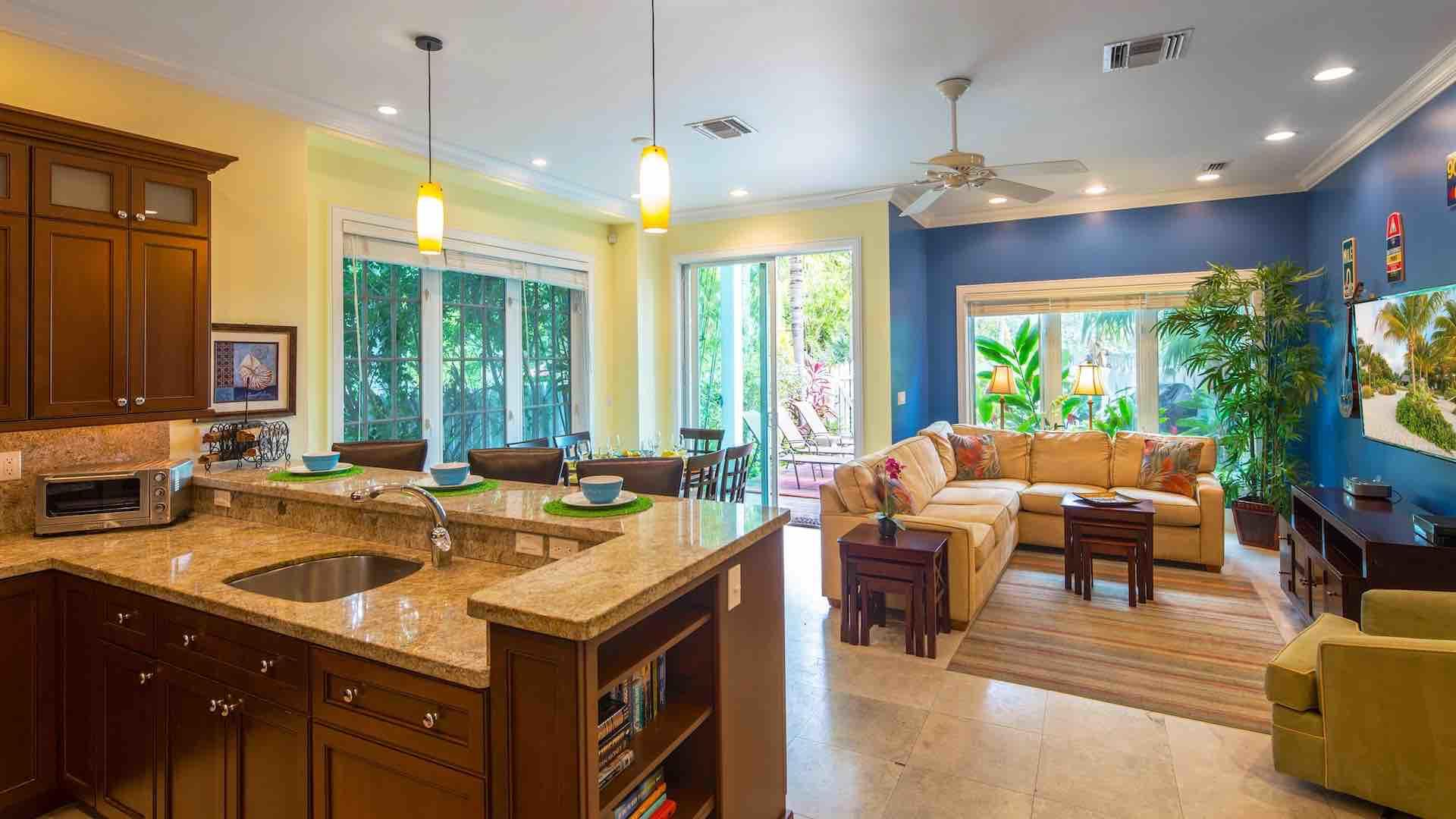 Entertaining a large group is a breeze thanks to the open living plan of the first floor areas...