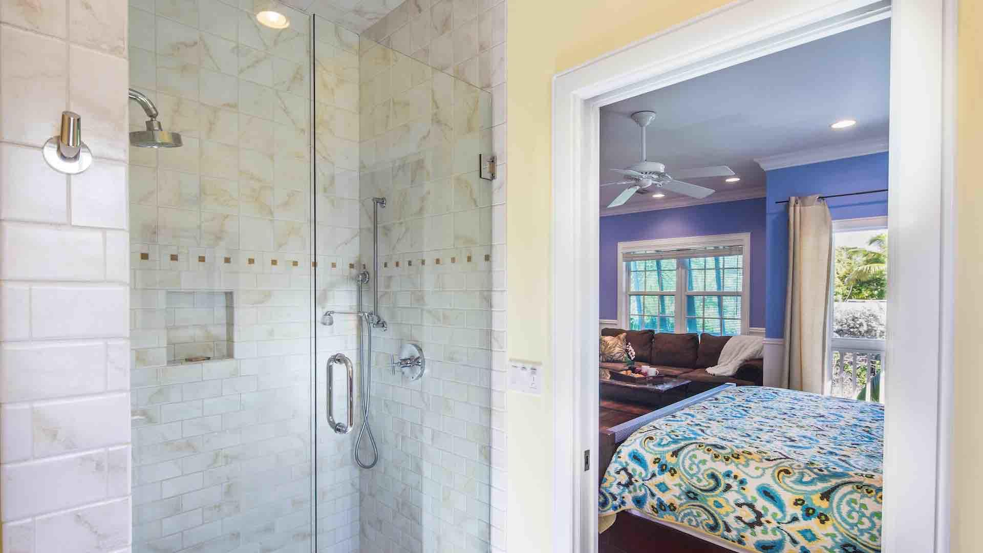 The second master bathroom has a spacious walk-in shower...