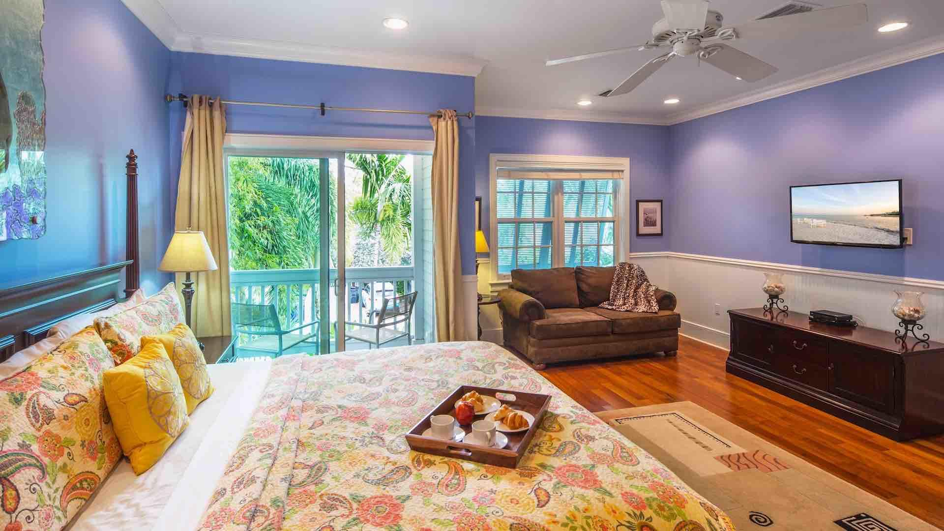 The first master suite has a large King bed and a flat screen TV...