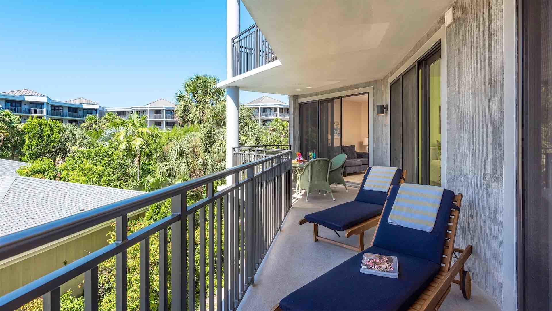 The balcony has two chaise lounges for ultimate relaxation...
