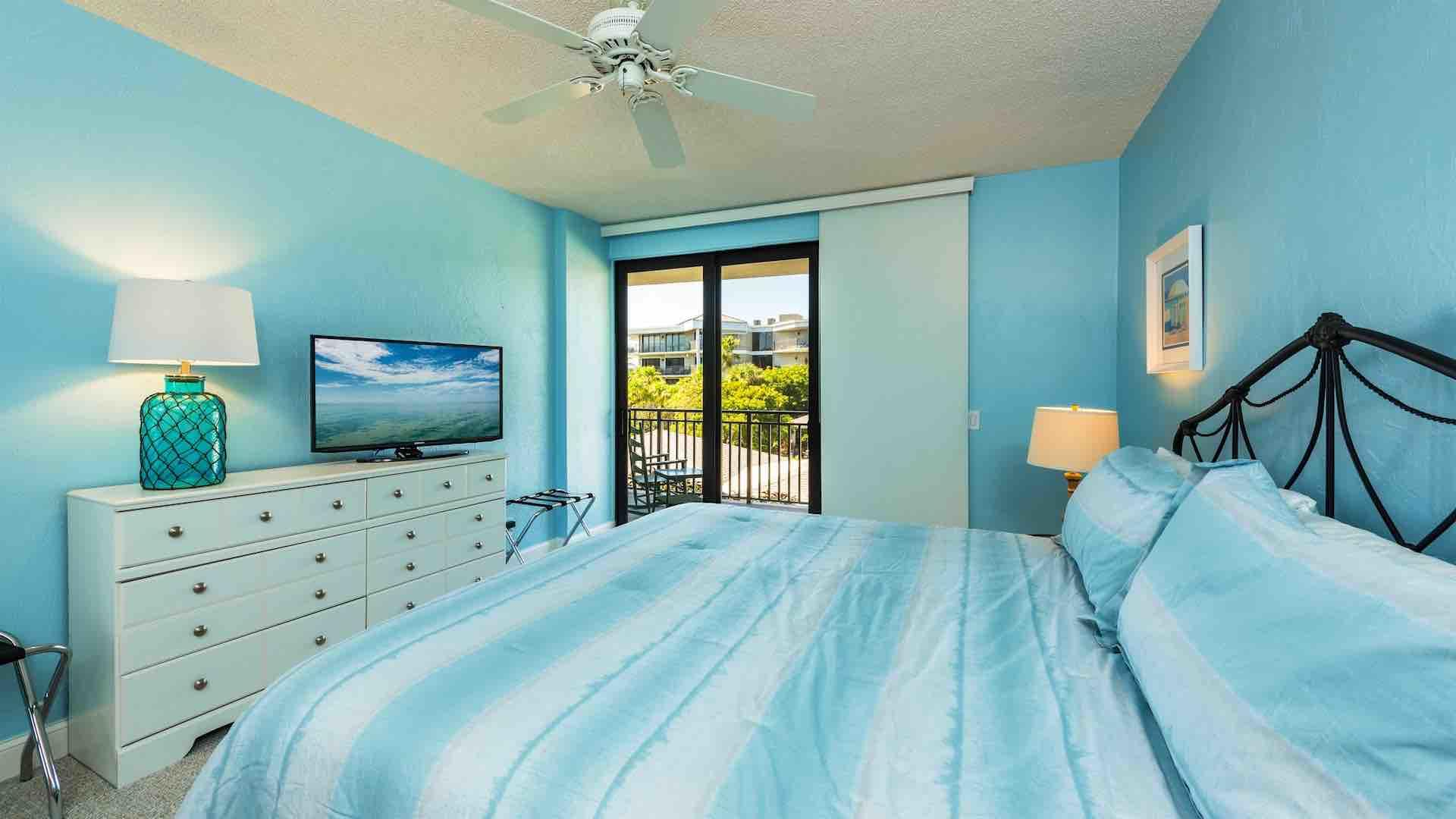 The master bedroom includes a large flat screen SmartTV...