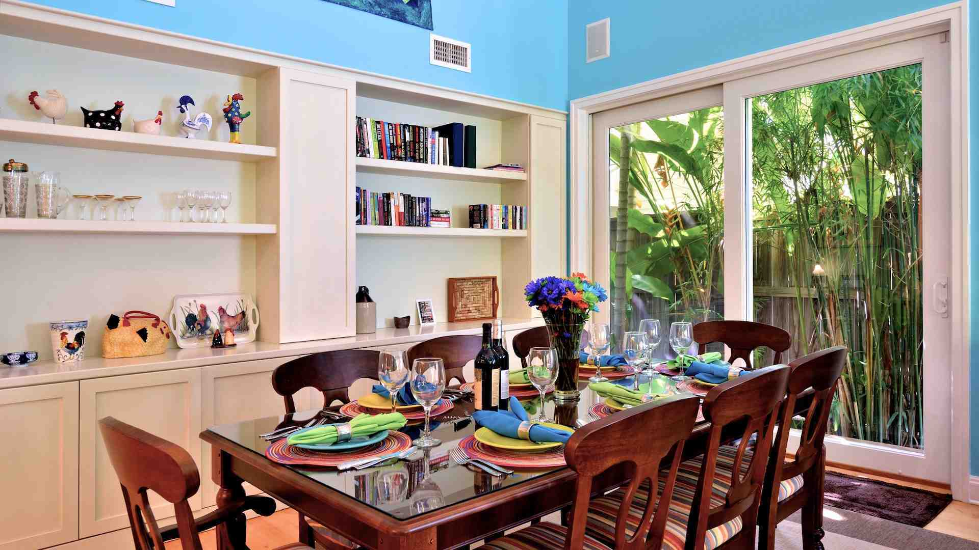 The large dining table will seat eight comfortably...