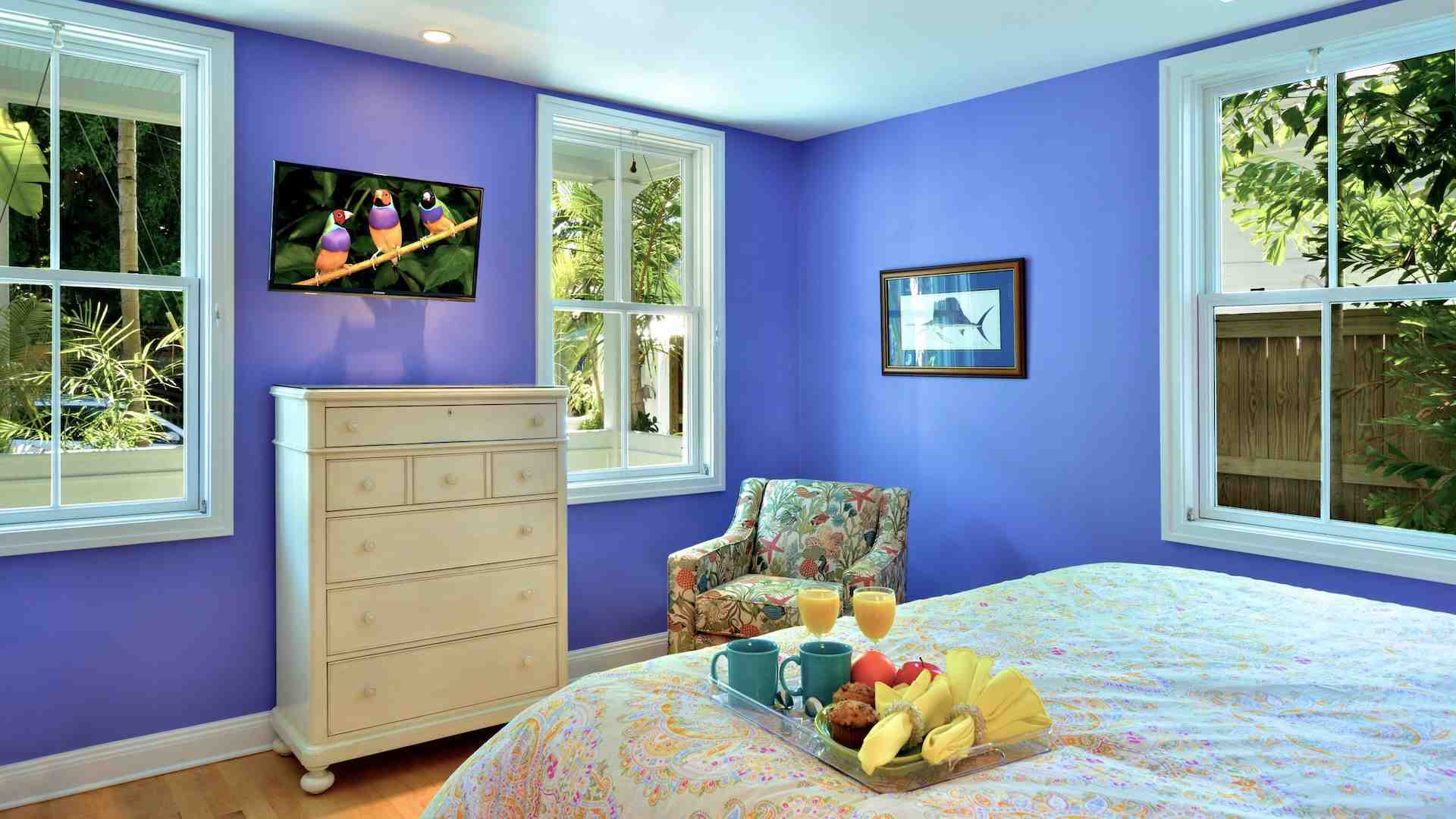 The master bedroom includes a flat screen TV and walk in closet...