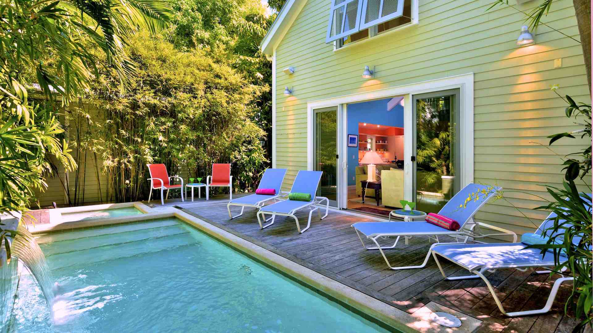 The pool deck out back has chaise lounges and seating for up to six persons...