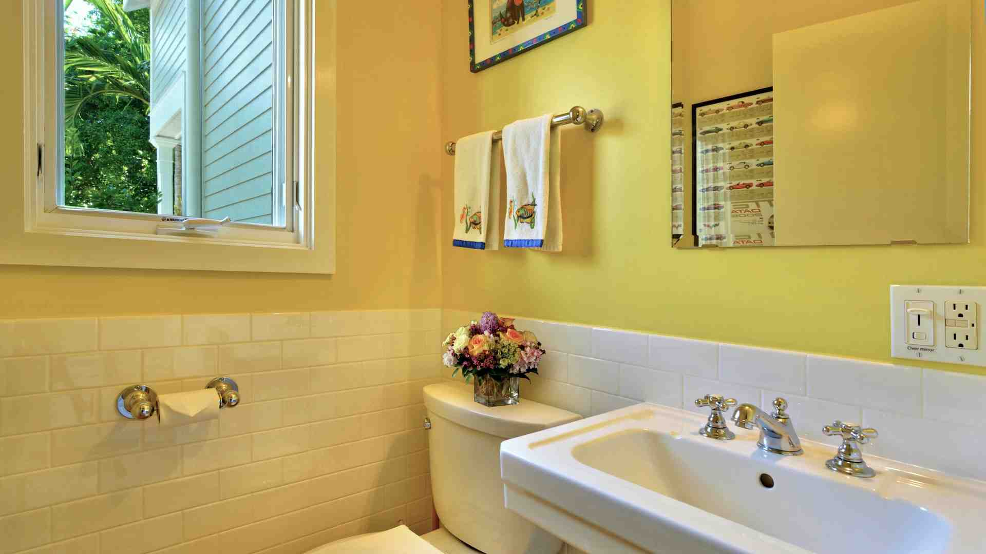 There's a powder room in the hall for the convenience of your guests...