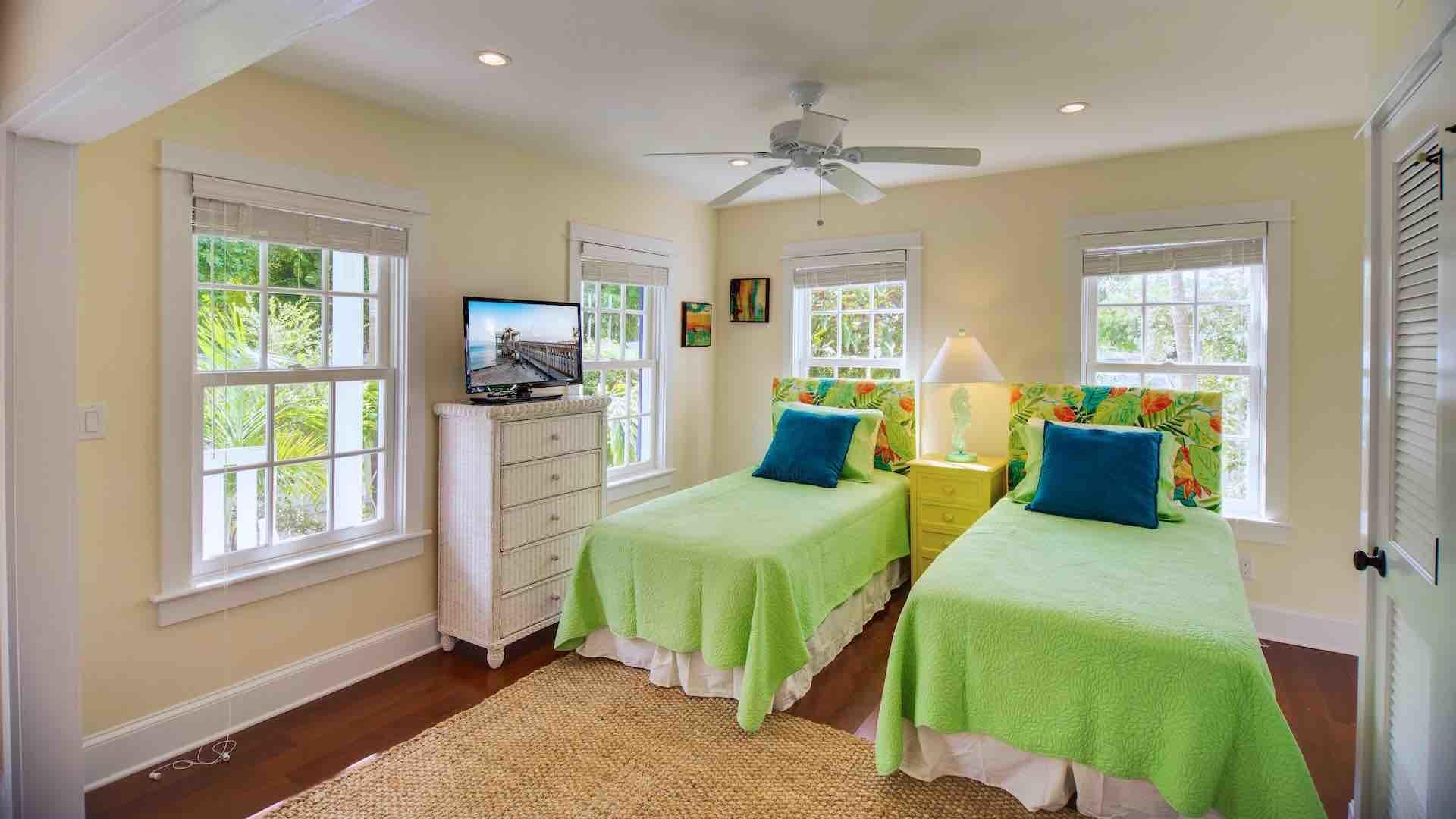 The first floor bedroom has two twin beds that can convert to a King bed upon request...