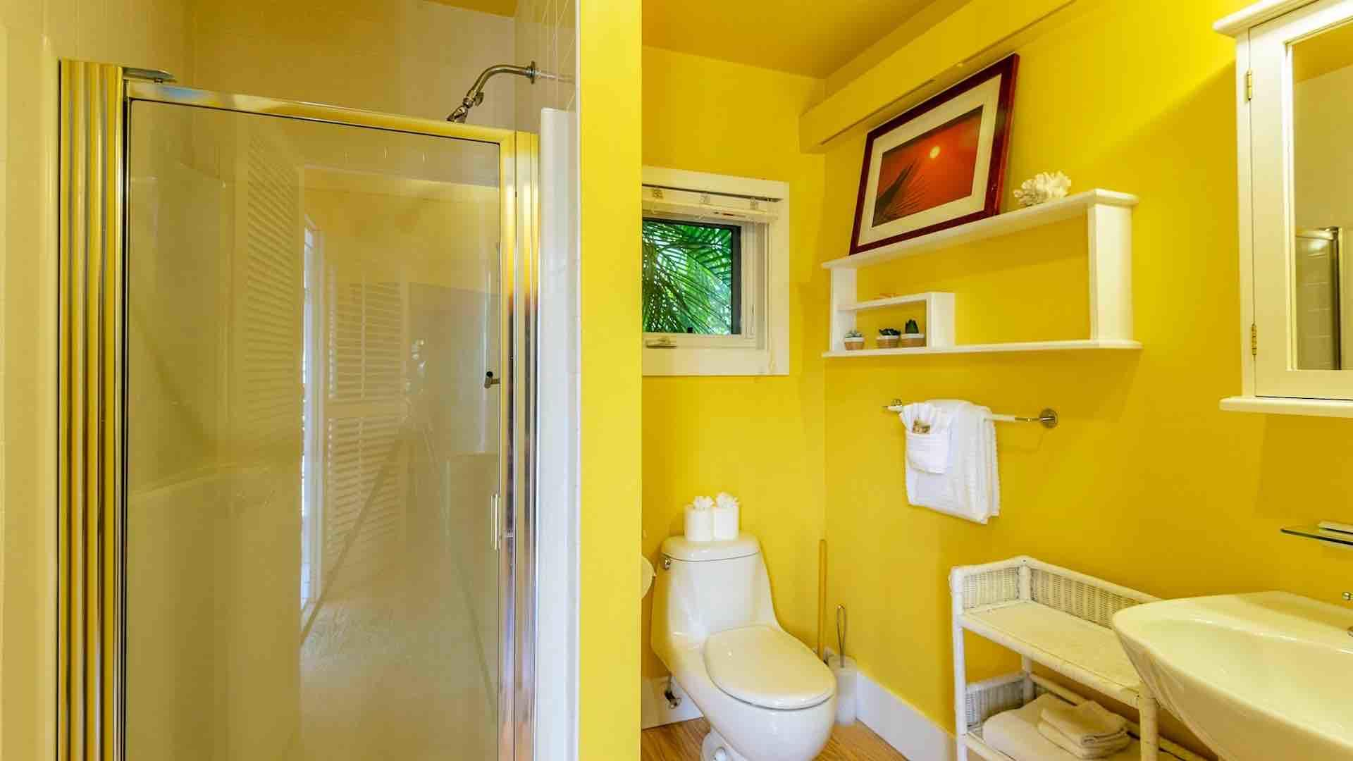 The guest house bathroom has a pedestal sink and shower with glass door.