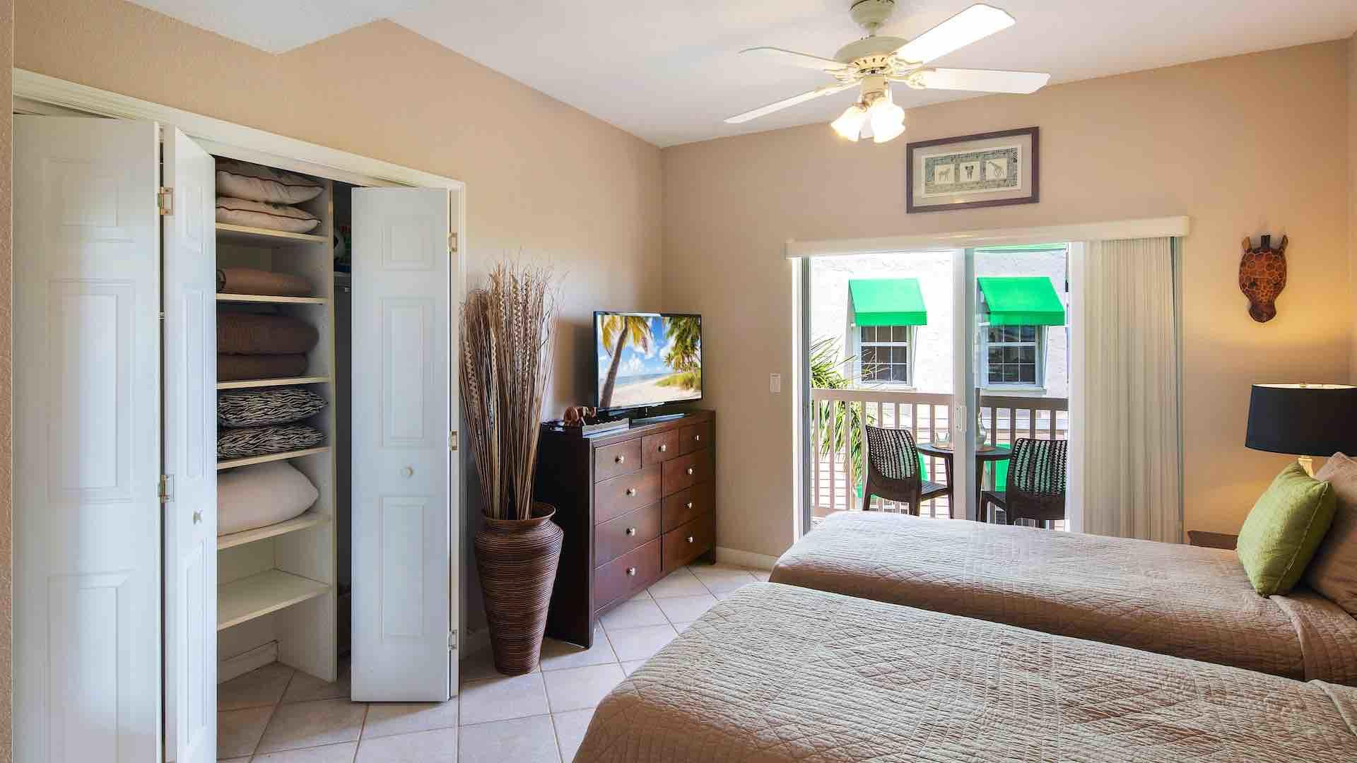 The second bedroom also has a flat screen TV and a large closet...