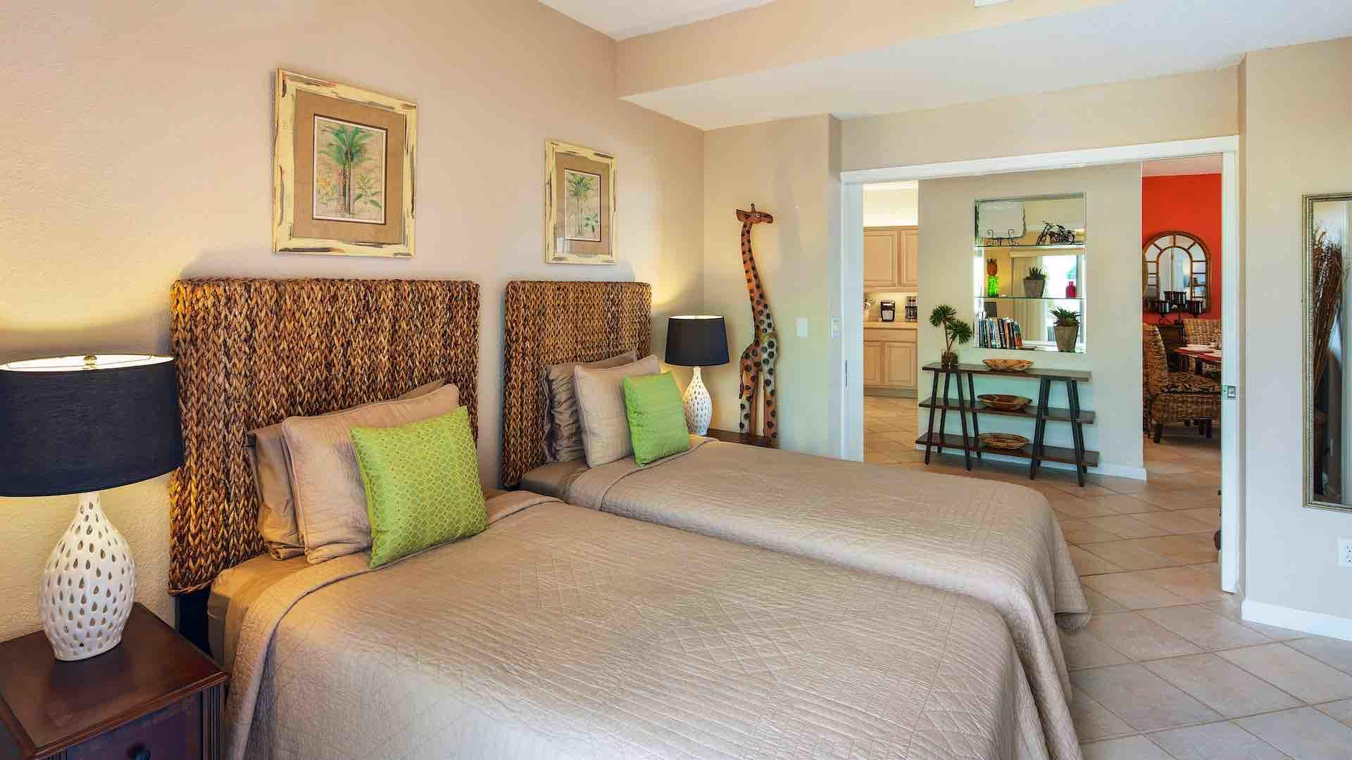 The second bedroom has two twin beds that can convert to a King upon request...