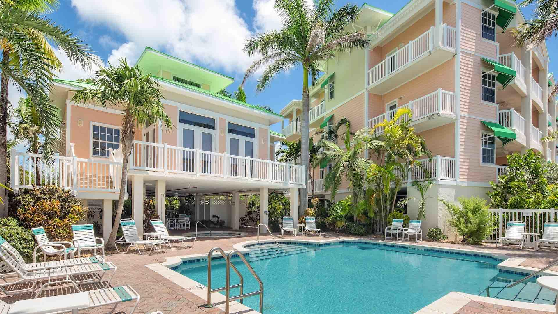 The Community Pool is located just steps from the condo...