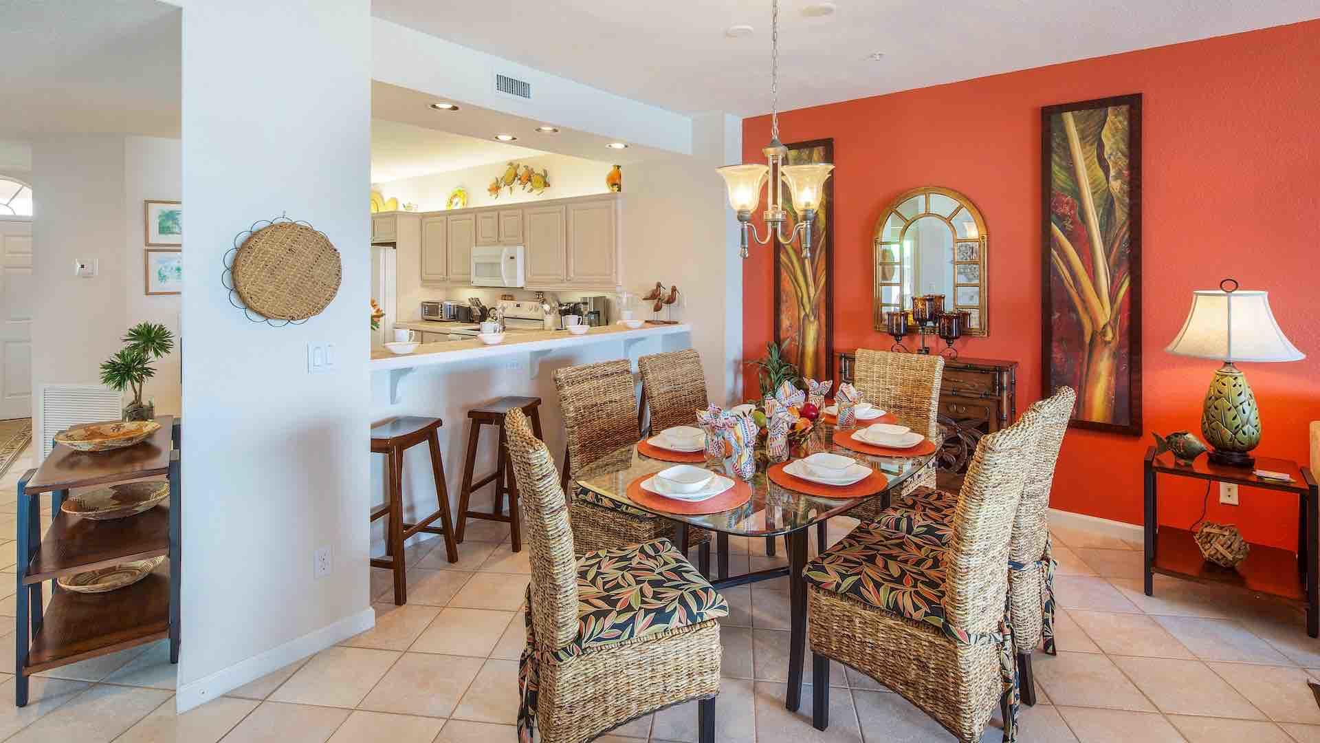 The indoor dining table seats six comfortably...