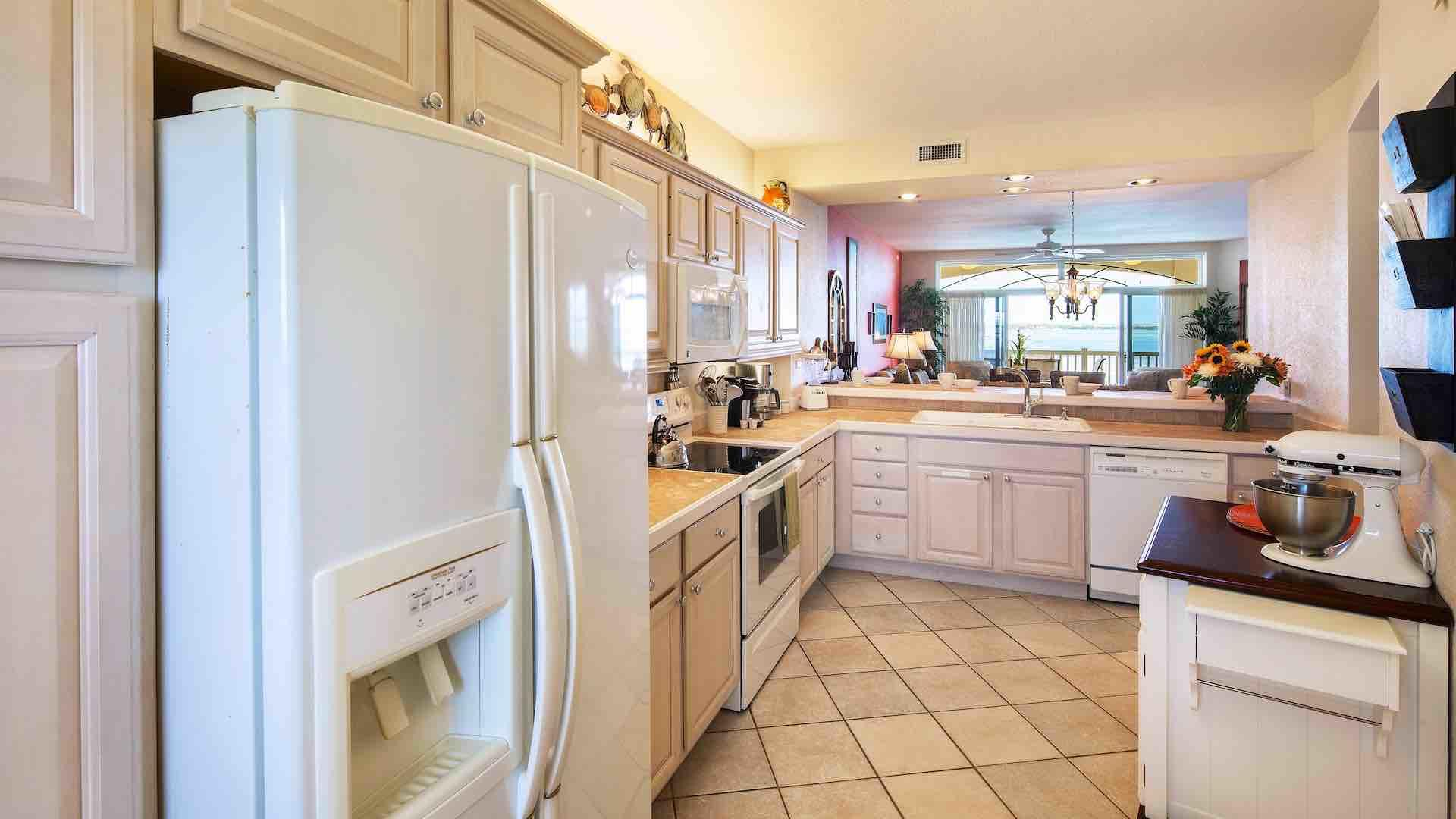 The kitchen has top of the line appliances and plenty of cabinet and counter space...