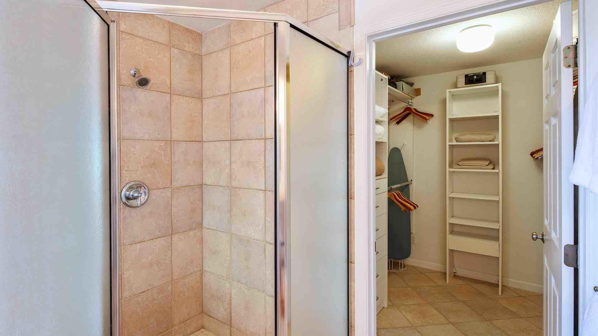 There's a large walk-in closet off the master bathroom...