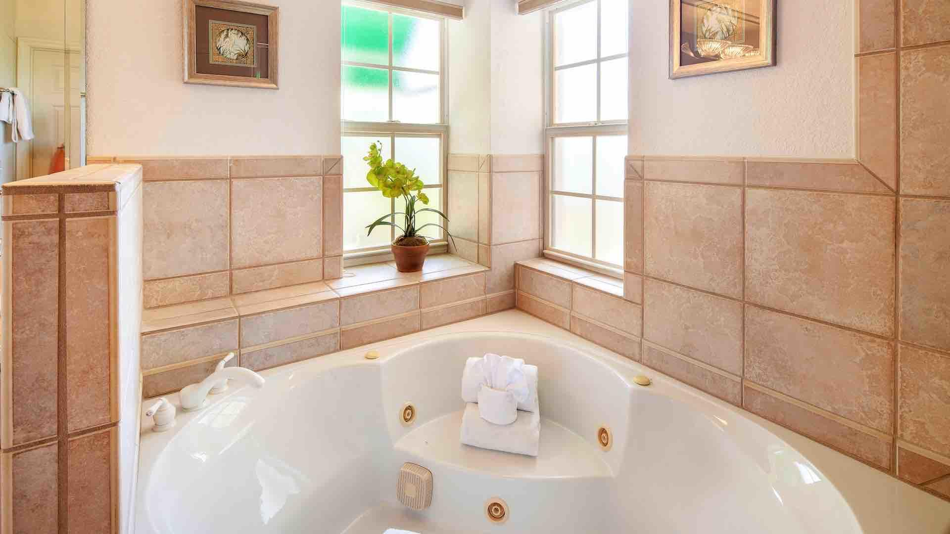 The master bathroom has both a shower and a jacuzzi tub...