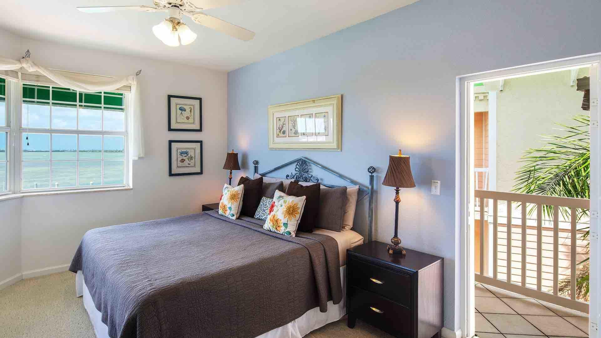 The master bedroom has a King bed and access to the main balcony and a private balcony...