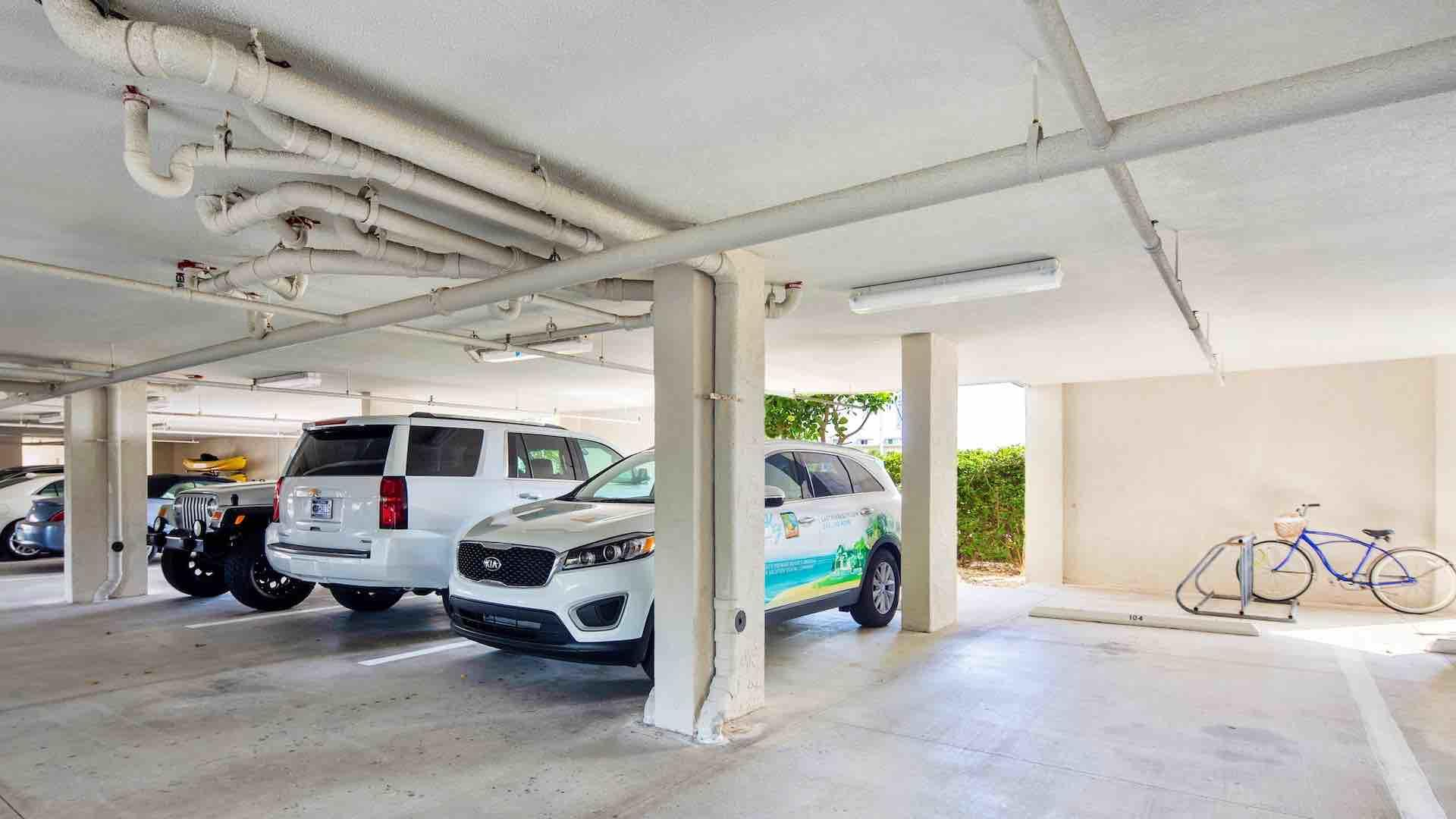 Your rental includes an off-street covered parking spot in the parking garage...