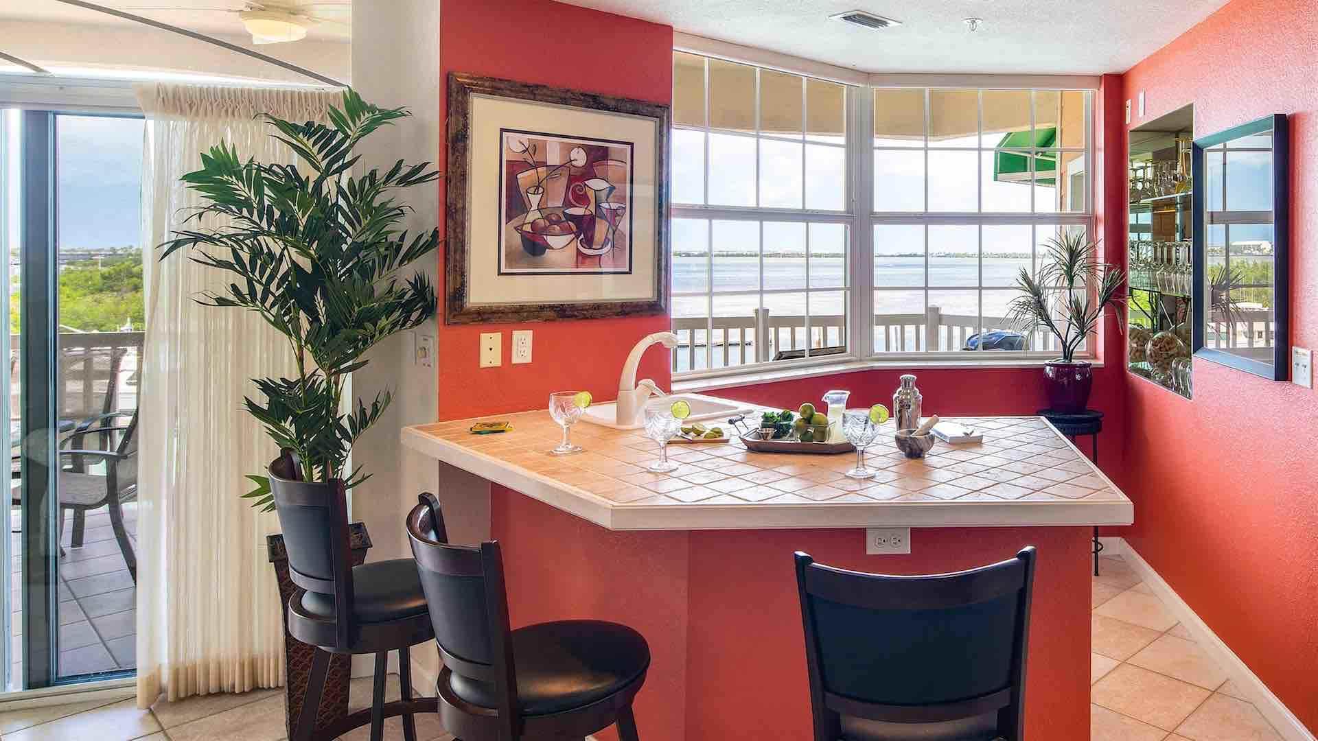 The condo has a separate full bar for hosting your own private happy hour...