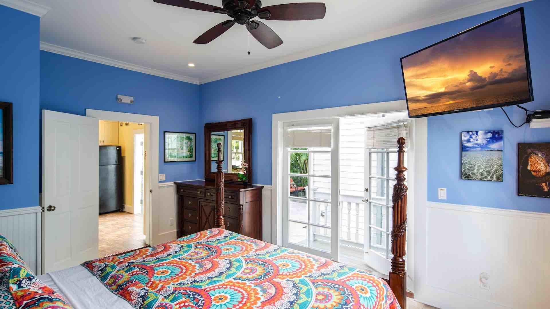 The master suite has French doors out to the back patio...