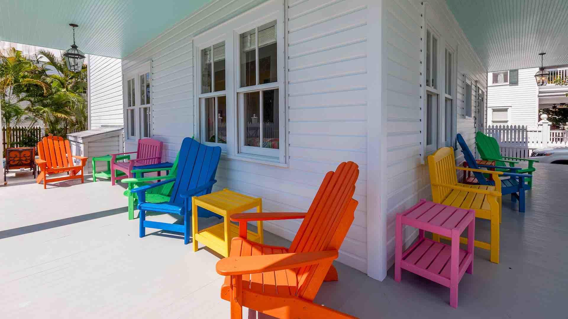 There is plenty of seating on the wrap-around porch...
