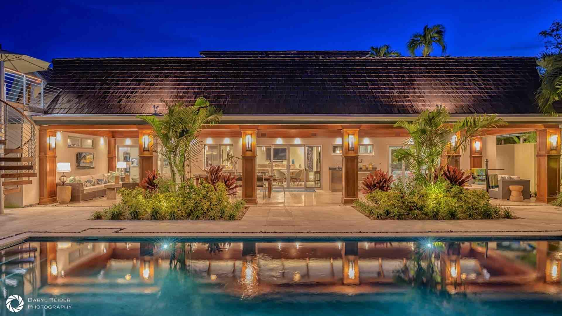 The grounds of this home are absolutely stunning at night...