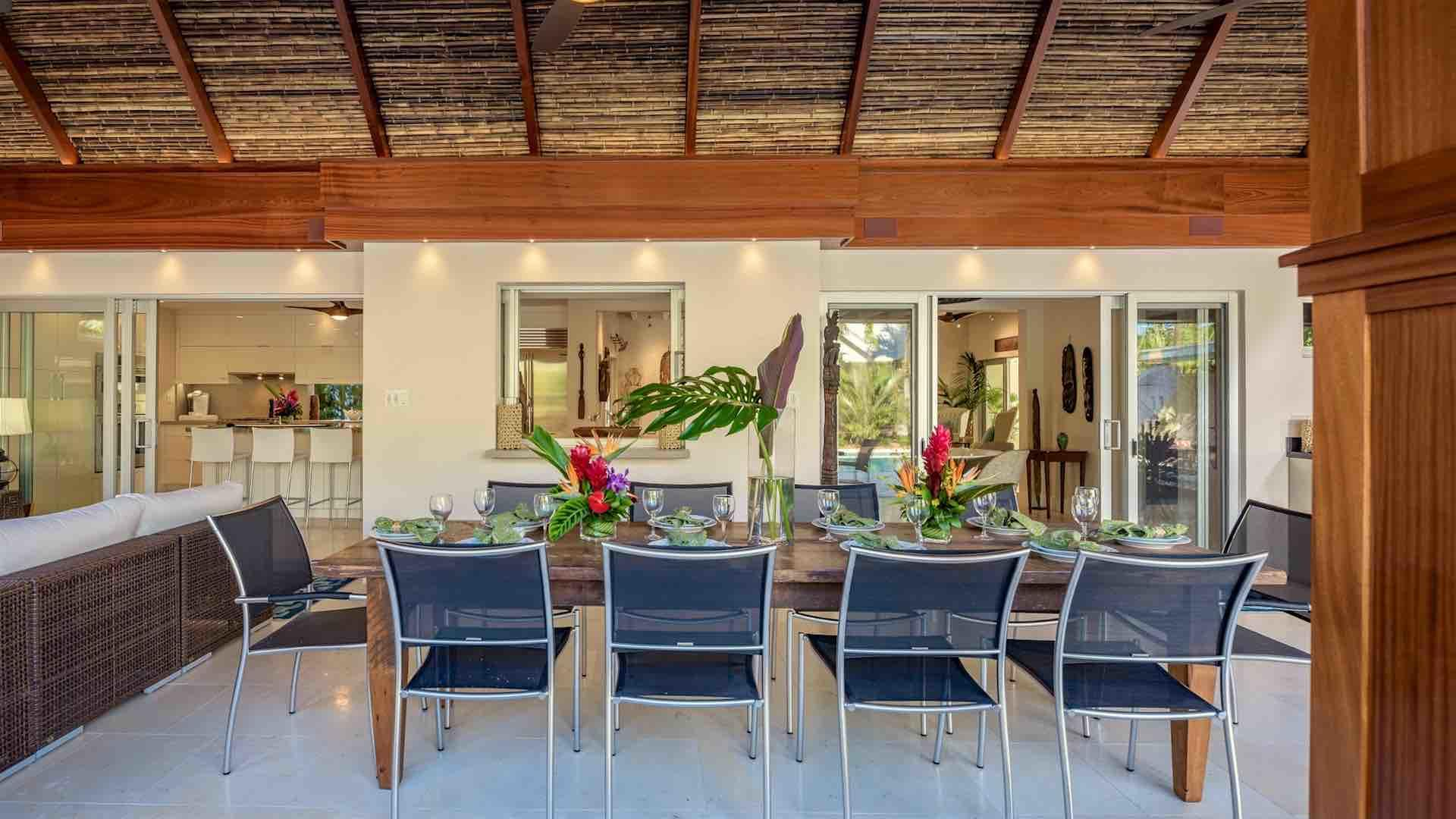 The large outdoor dining table seats 10 comfortably...