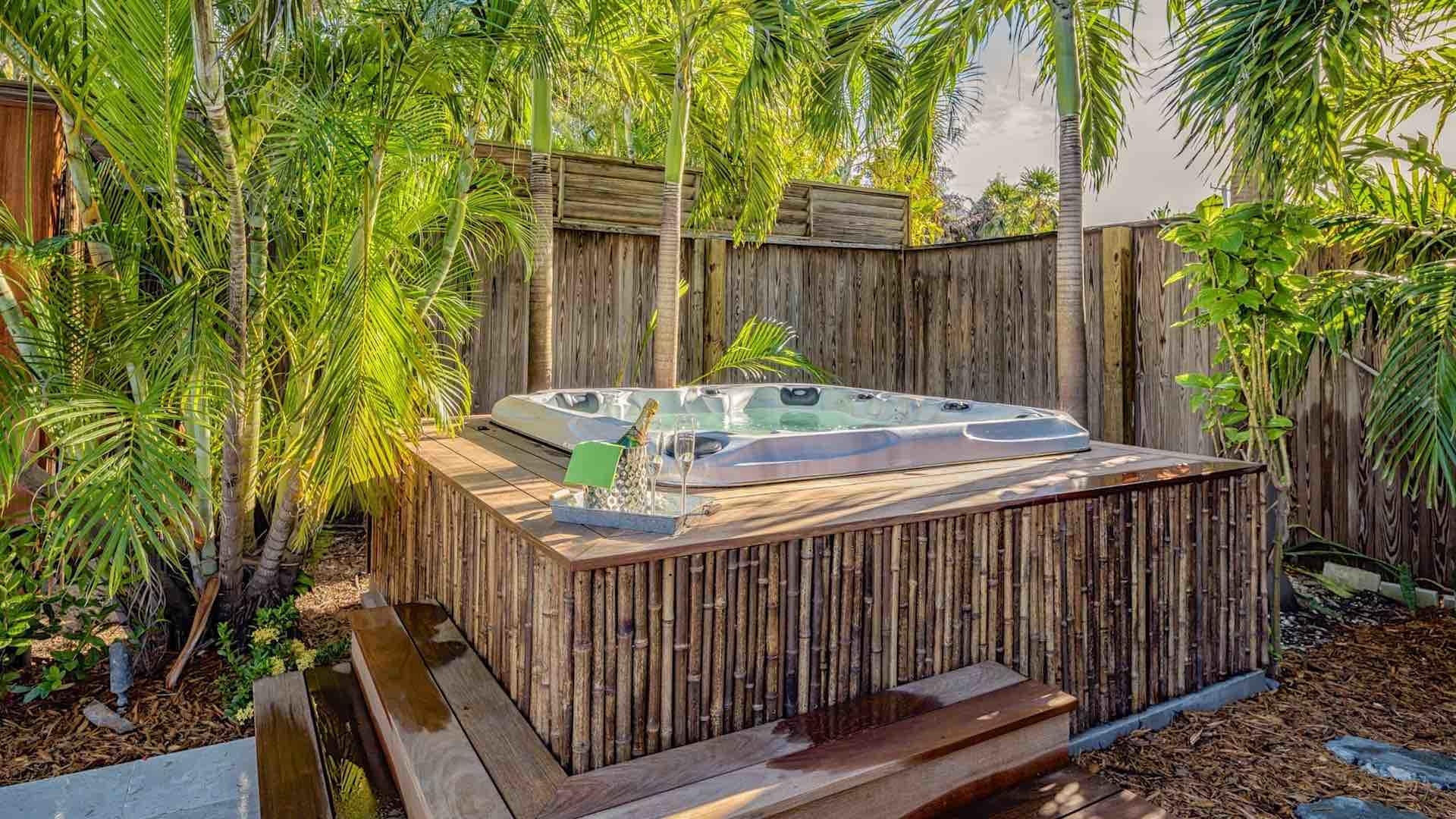 The lush landscaping surrounding the home provides plenty of privacy and reflects the tropical feeling...