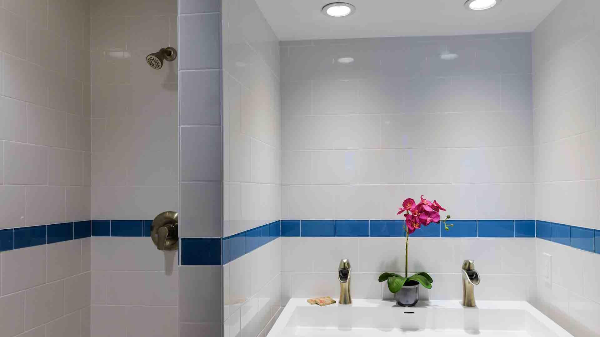 The en suite bathroom is fully tiled & features fully accessible roll in shower...