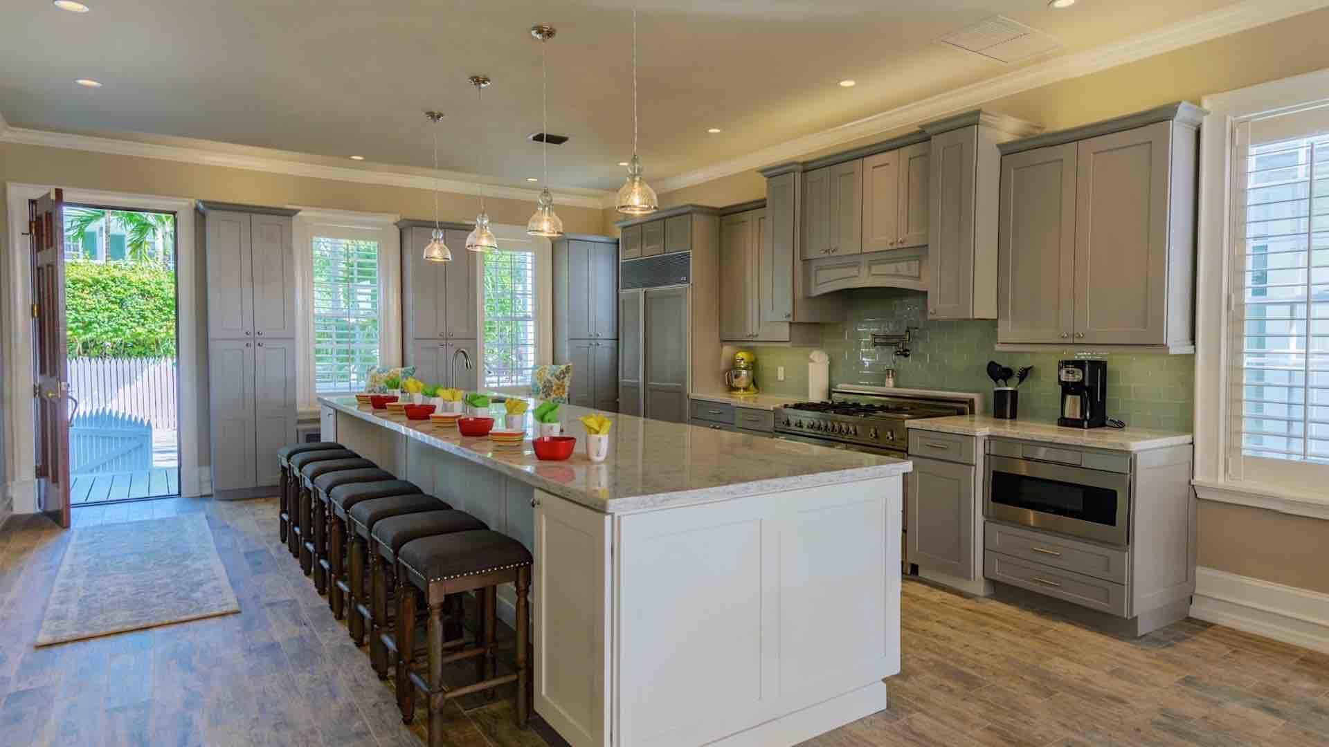 The gourmet kitchen is suitable to prepare a banquet meal. The island seats 8...