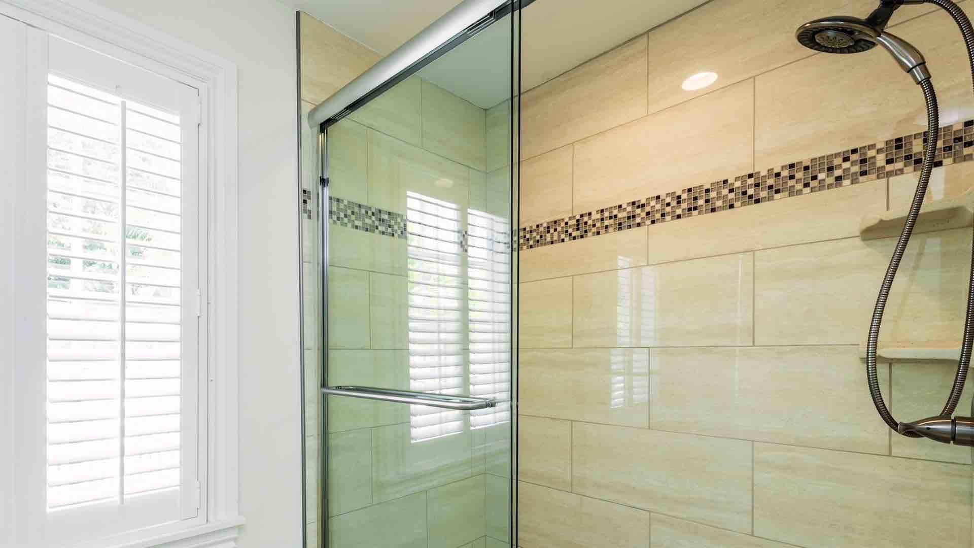 The master bathroom has a large shower...
