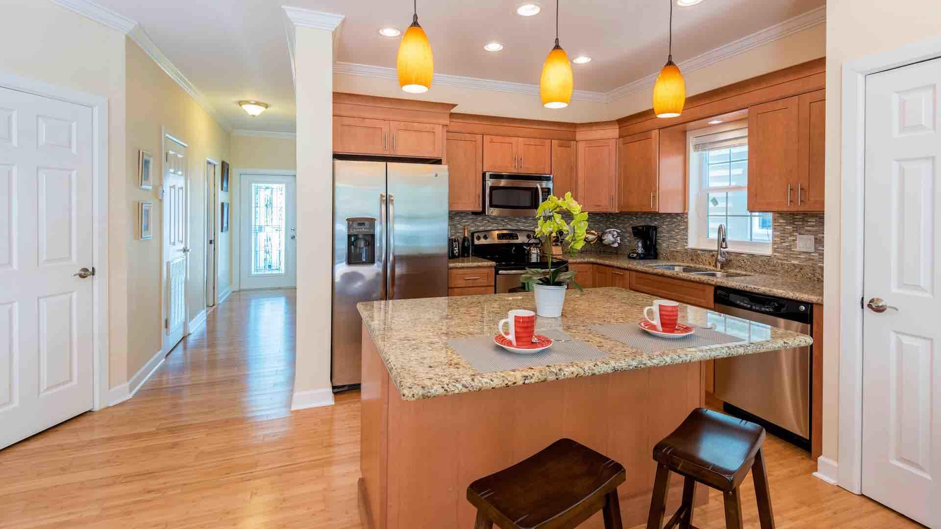 The kitchen is brand new, with stainless steel appliances & luxury tools...