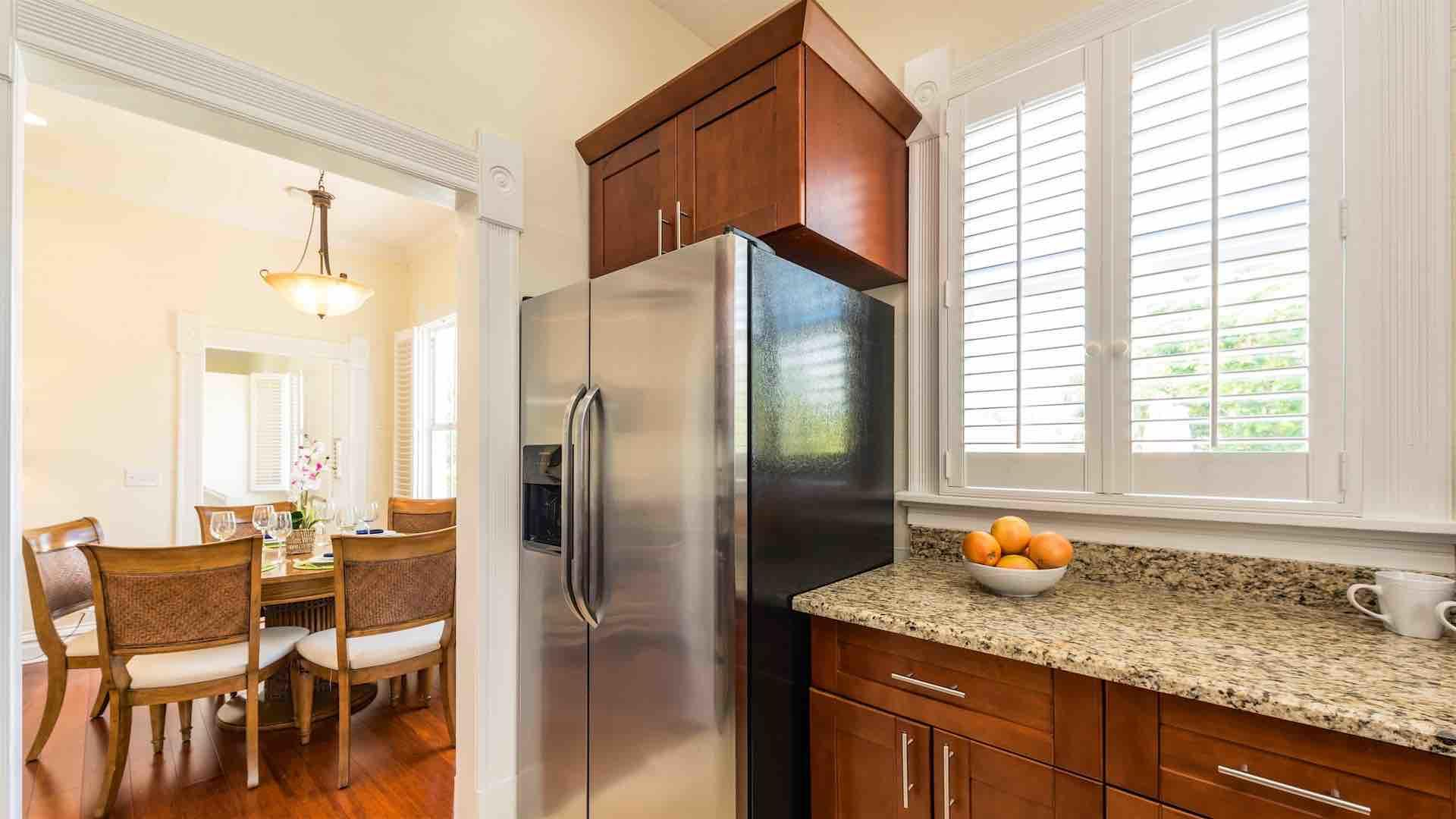 Off of the living area, the upscale kitchen is fully equipped with all the high-end tools you'll need to prepare a meal...