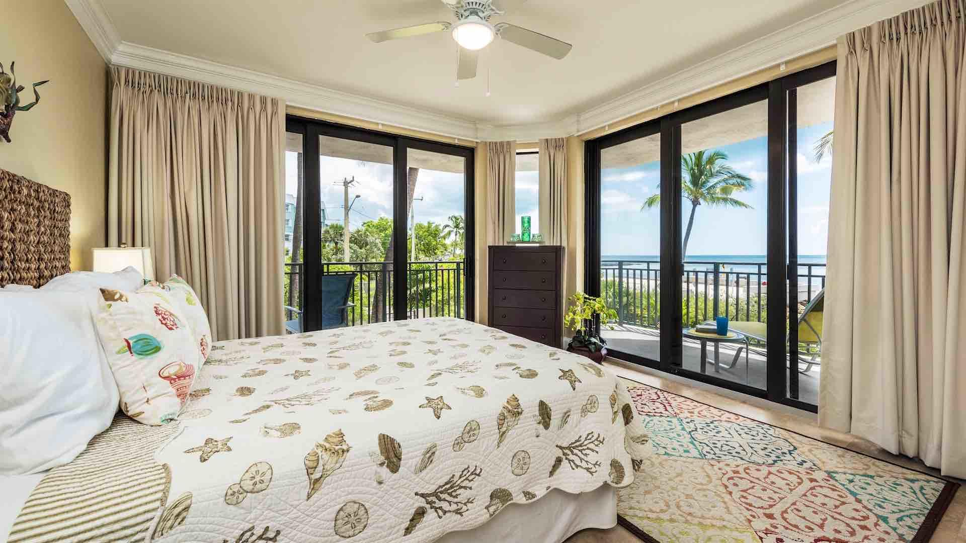 The second bedroom has a Queen bed and beautiful views of the ocean...