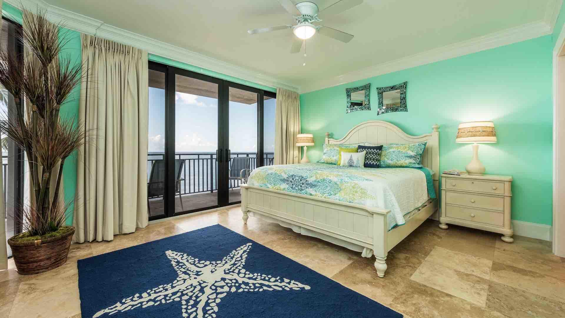 The master bedroom has direct access to the wrap-around balcony...