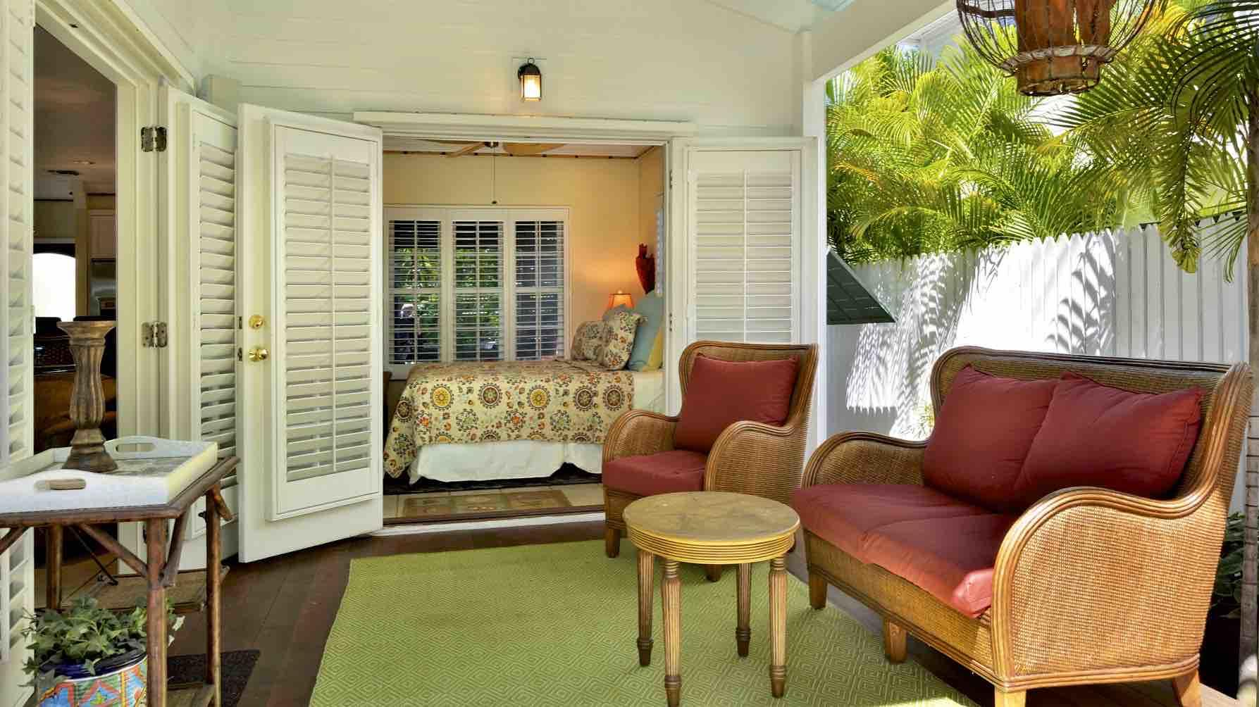 There is a comfortable seating area on the porch. Perfect for morning coffee...