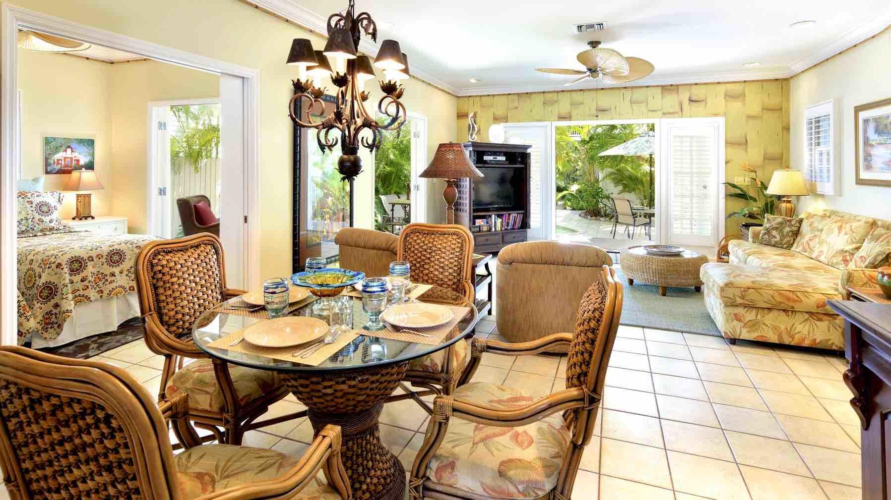 The dining table seats 4. The open design plan allows tropical breezes throughout...