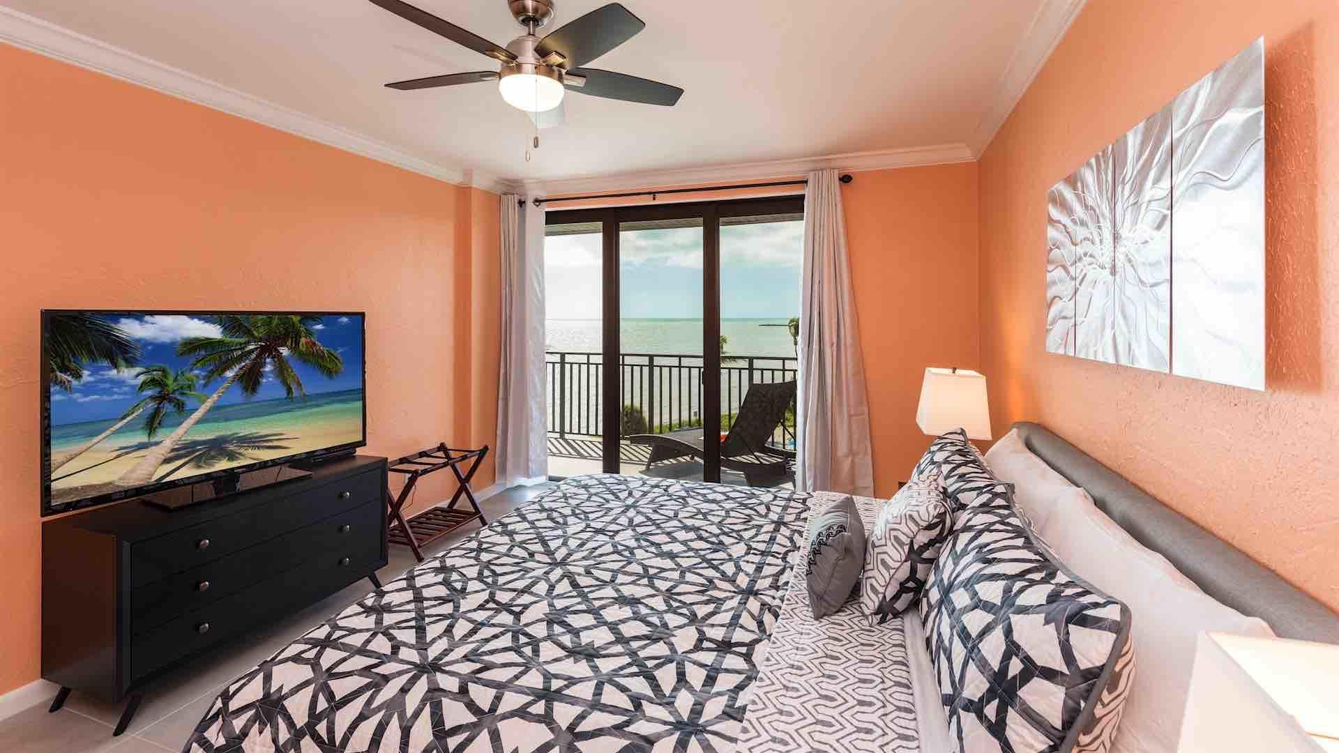 The master bedroom has ocean views and balcony access...