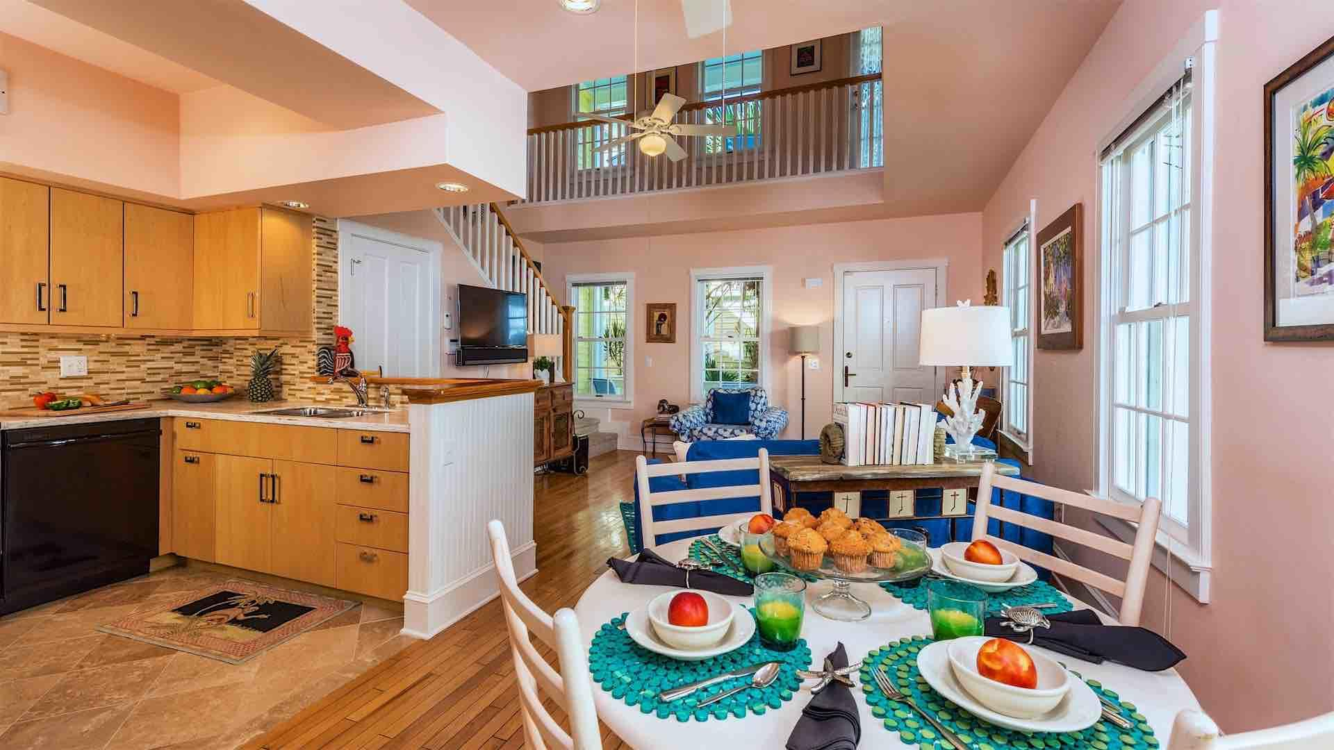 The dining set sits off the kitchen and has seating for four...