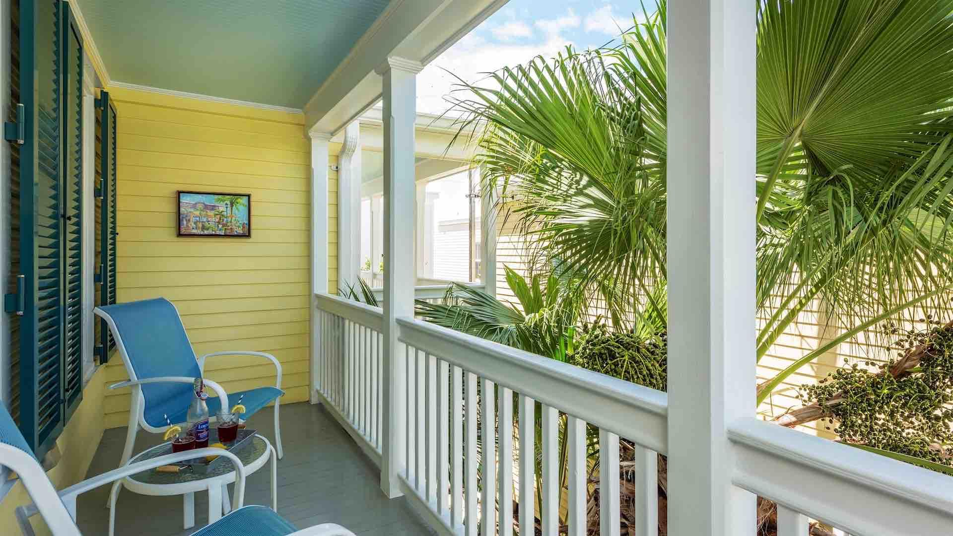 The front balcony has a 3-piece bistro set and overlooks the pool...