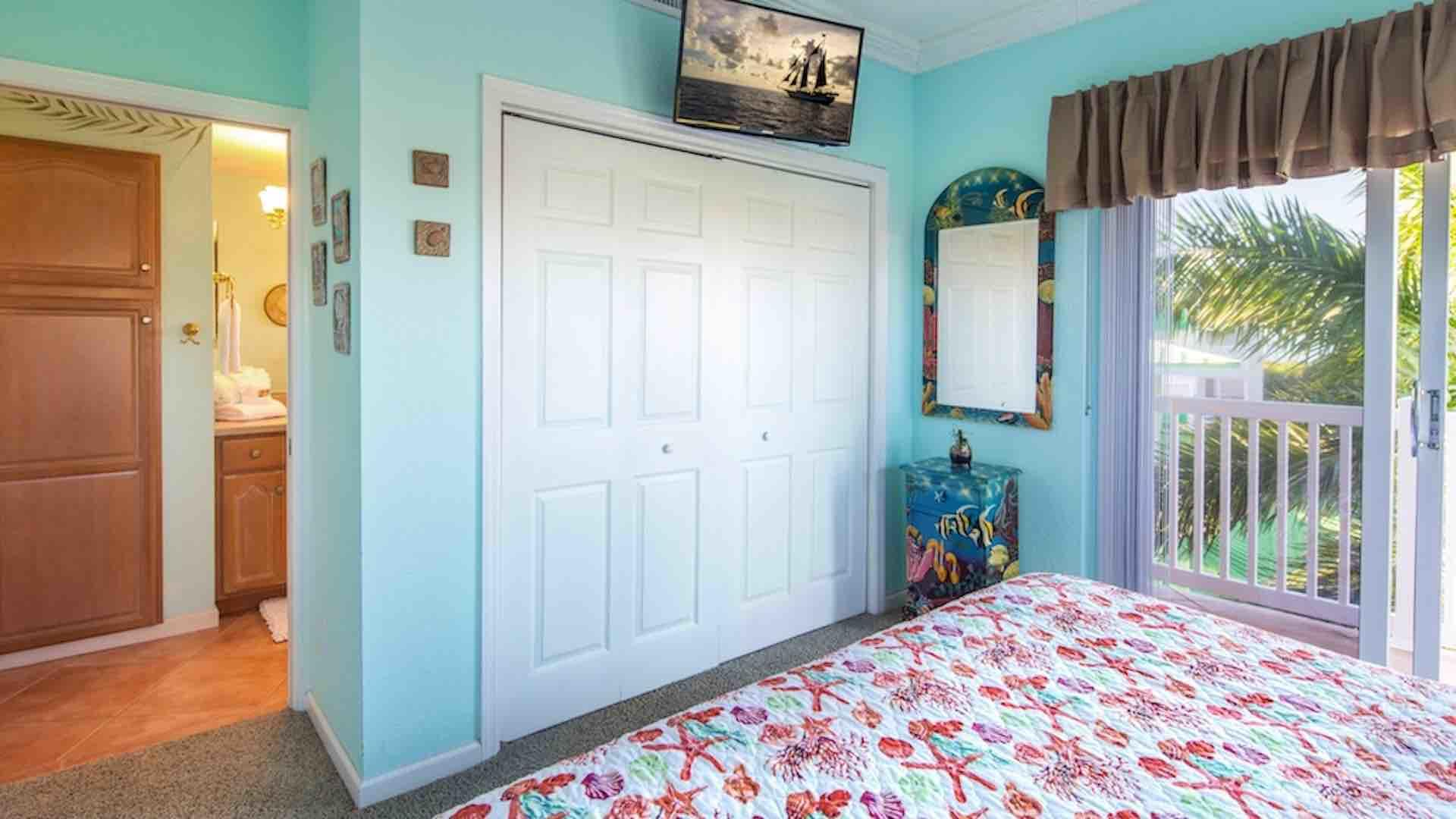 The second bedroom also has a flat screen TV and large closet...