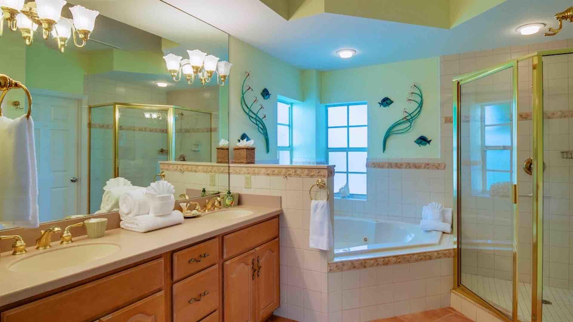 The master bathroom has double sinks and a Jacuzzi tub...