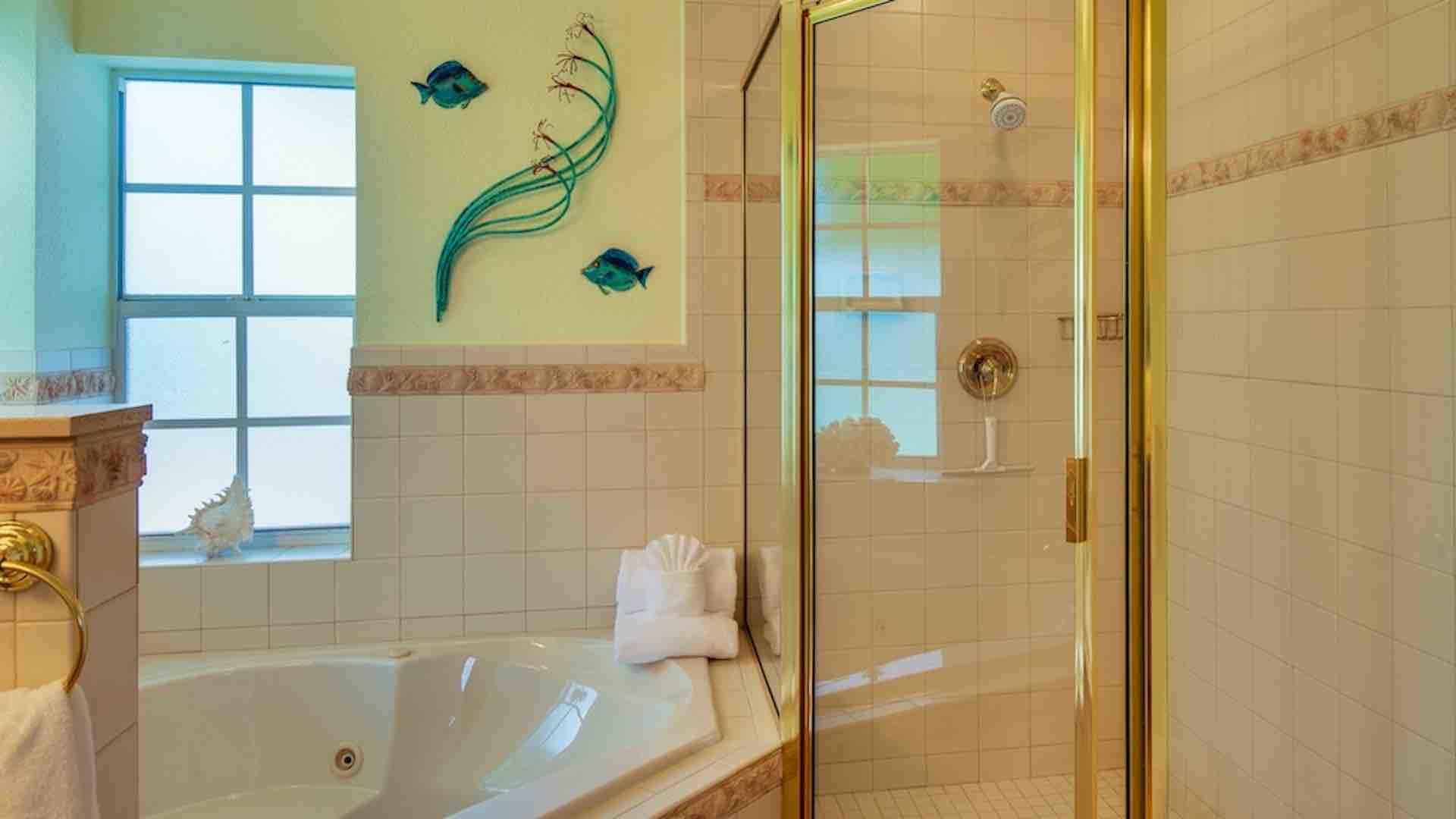The master bathroom also has a walk-in shower...