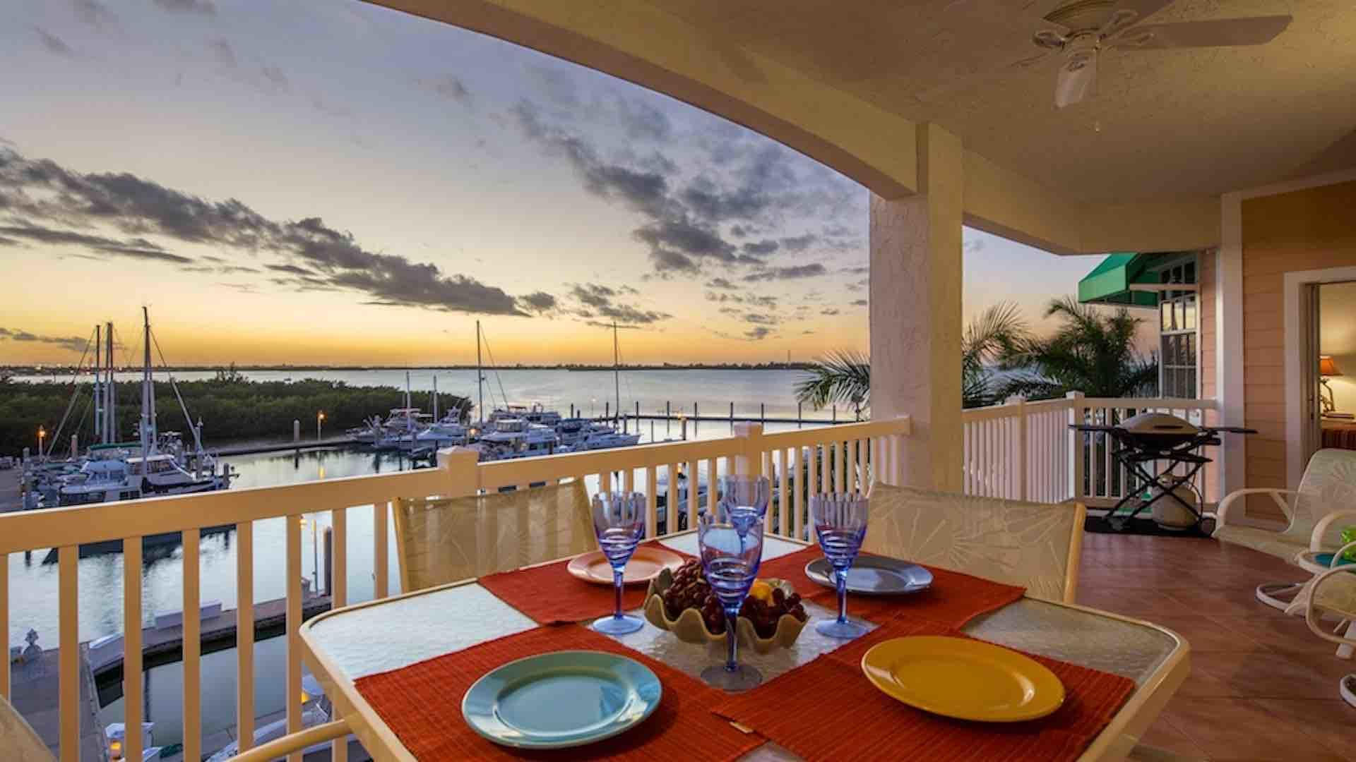 Sundrenched Reflections is located on the water at Sunset Marina...
