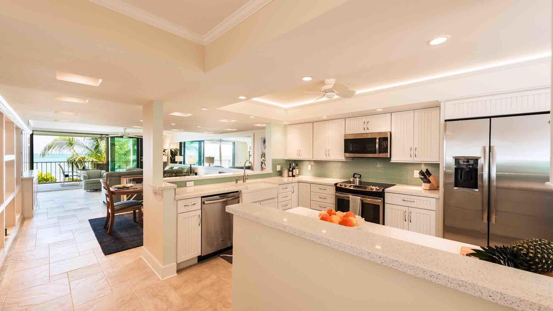 This beautifully renovated kitchen has brand new stainless steel appliances...