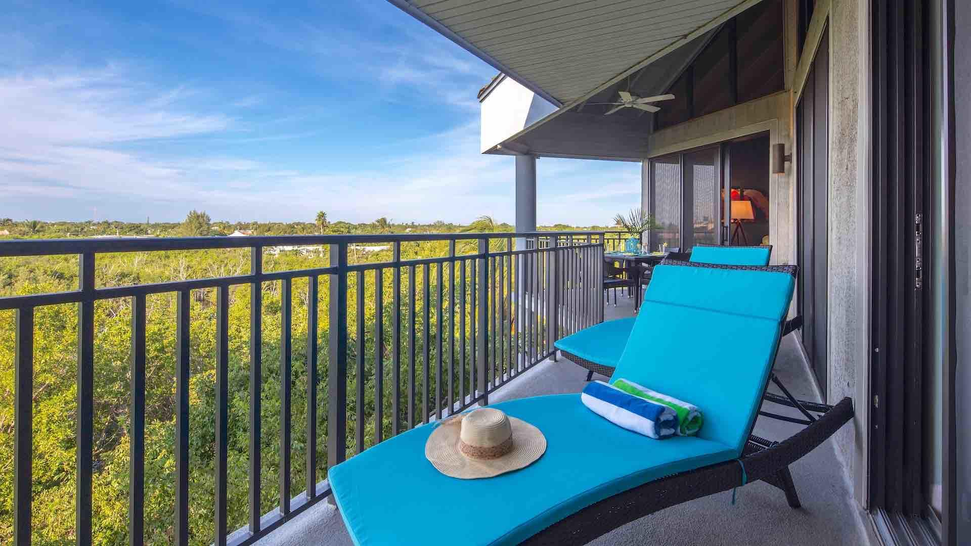 There are two chaise lounges located on the balcony for relaxing...