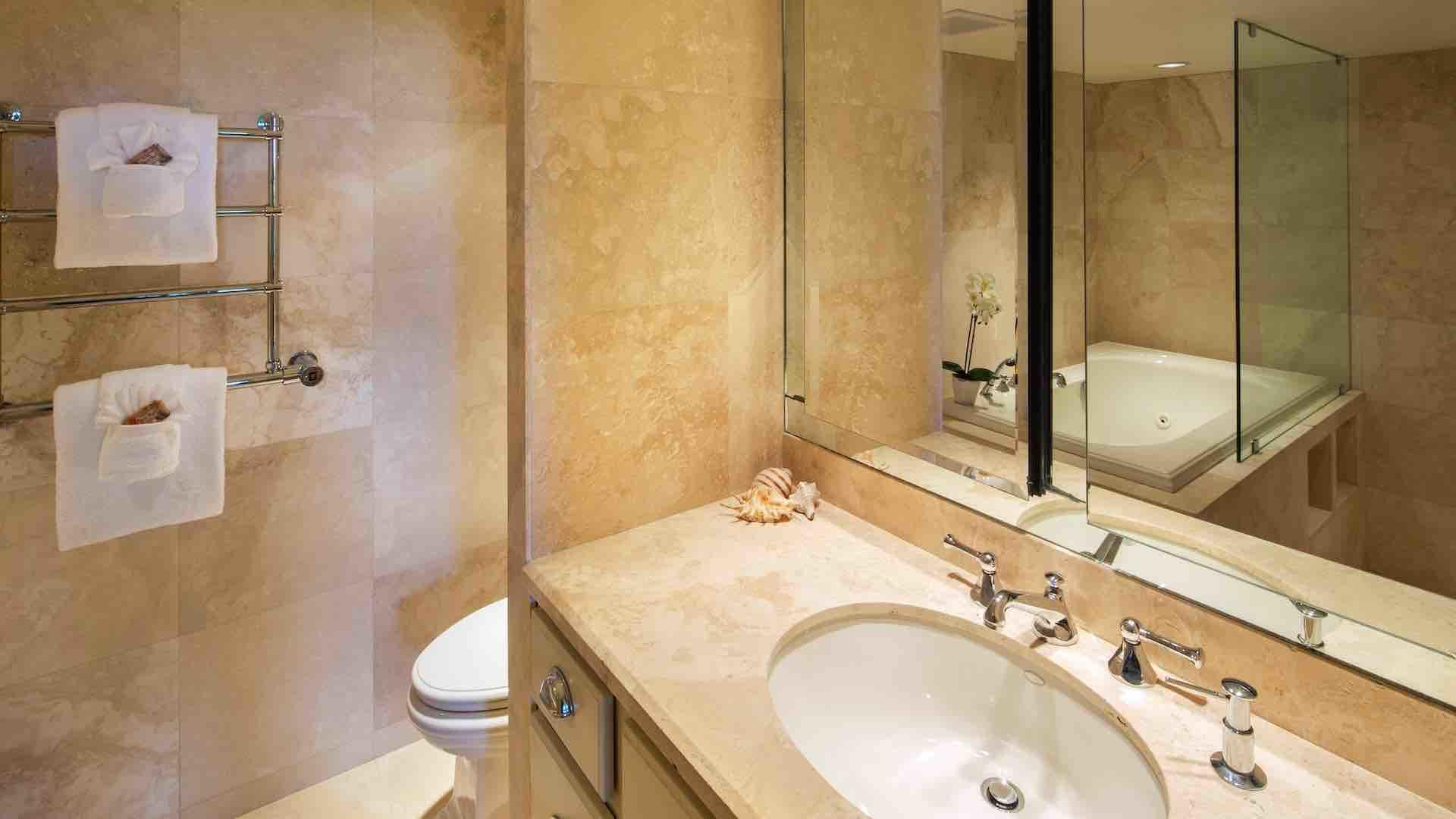 The master bathroom has been completely renovated with a modern look...