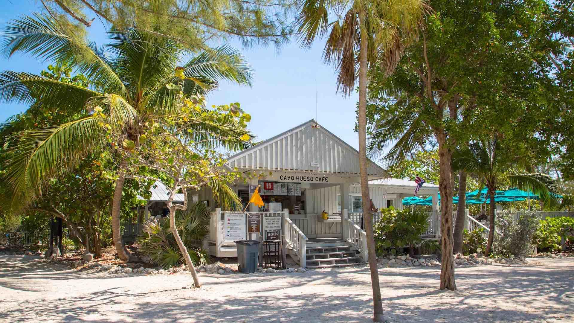Grab a snack or drink at the Fort Zach Cayo Hueso cafe...