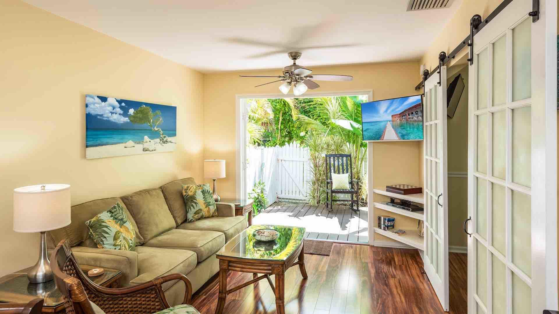 Saltwater Harmony has large French doors in the living room that open to the back patio...