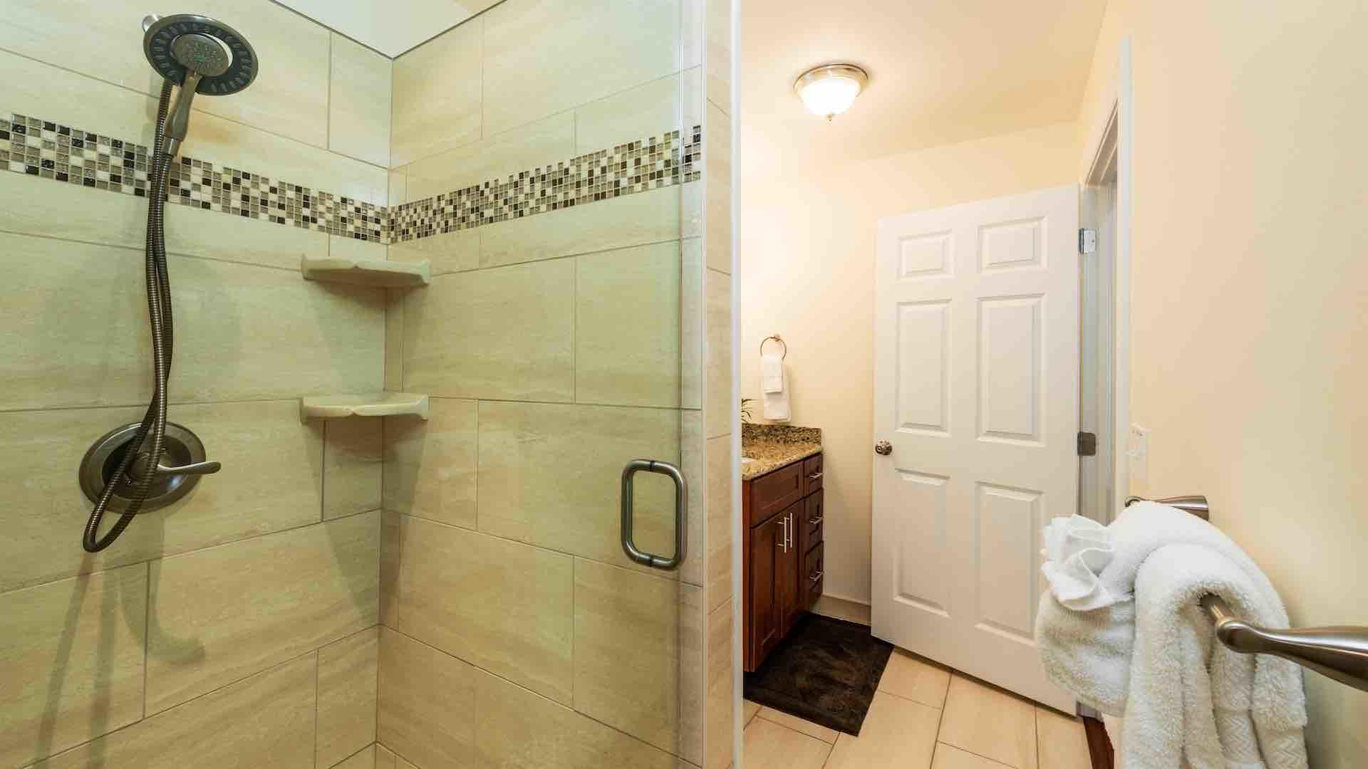 The second downstairs bathroom has a walk-in shower...